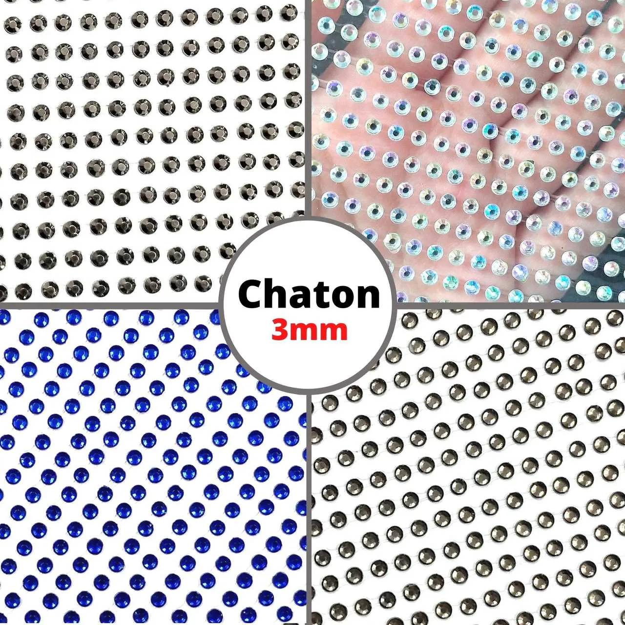 Cartela Adesiva Chaton 3mm - 1 cartela