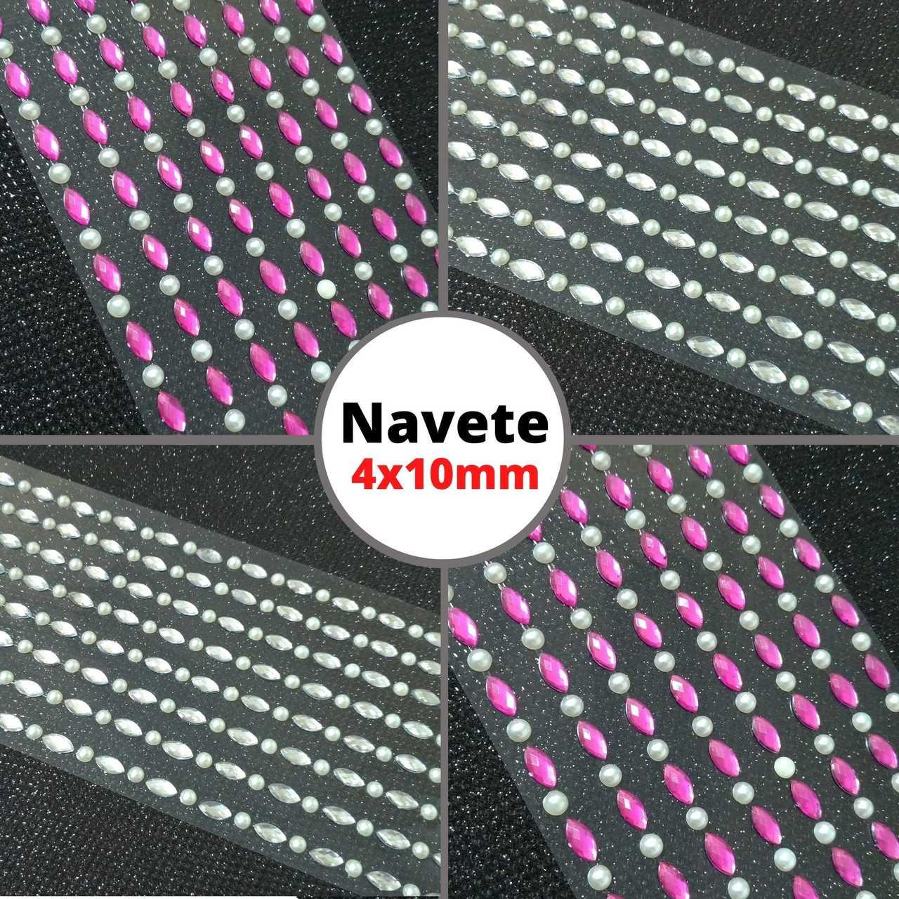 Cartela Adesiva Chaton Navete e Meia Pérola - 1 cartela