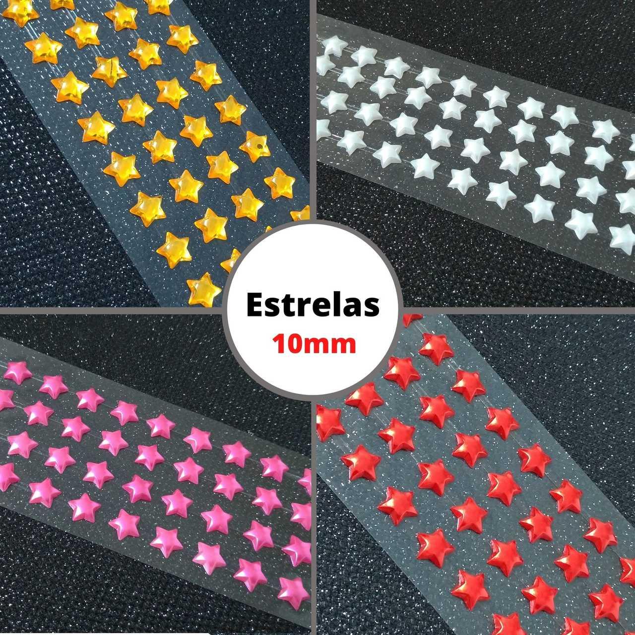 Cartela Adesiva Meia Pérola Formato Estrela - 1 cartela