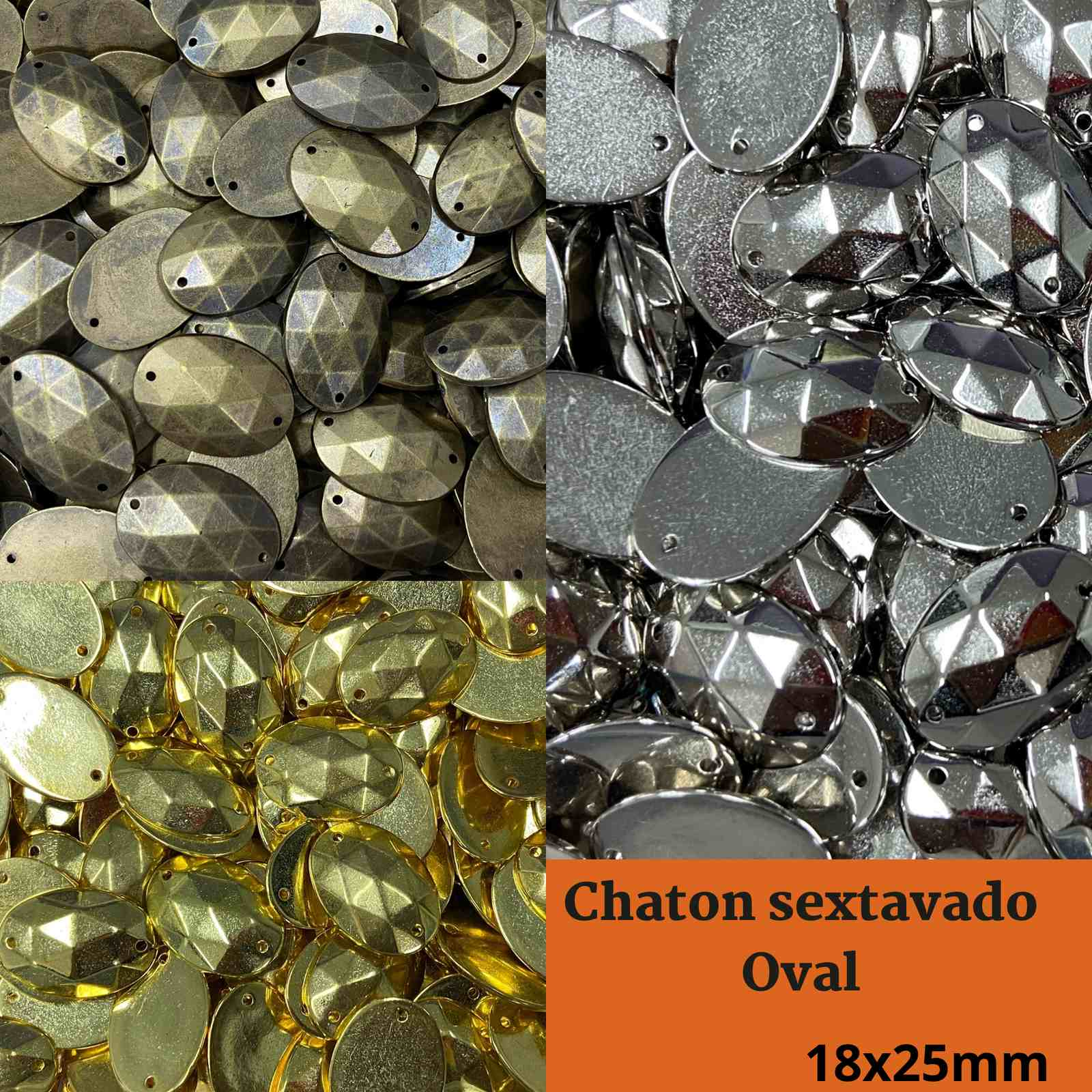 Chaton ABS Sextavado Oval 18mm c/250g