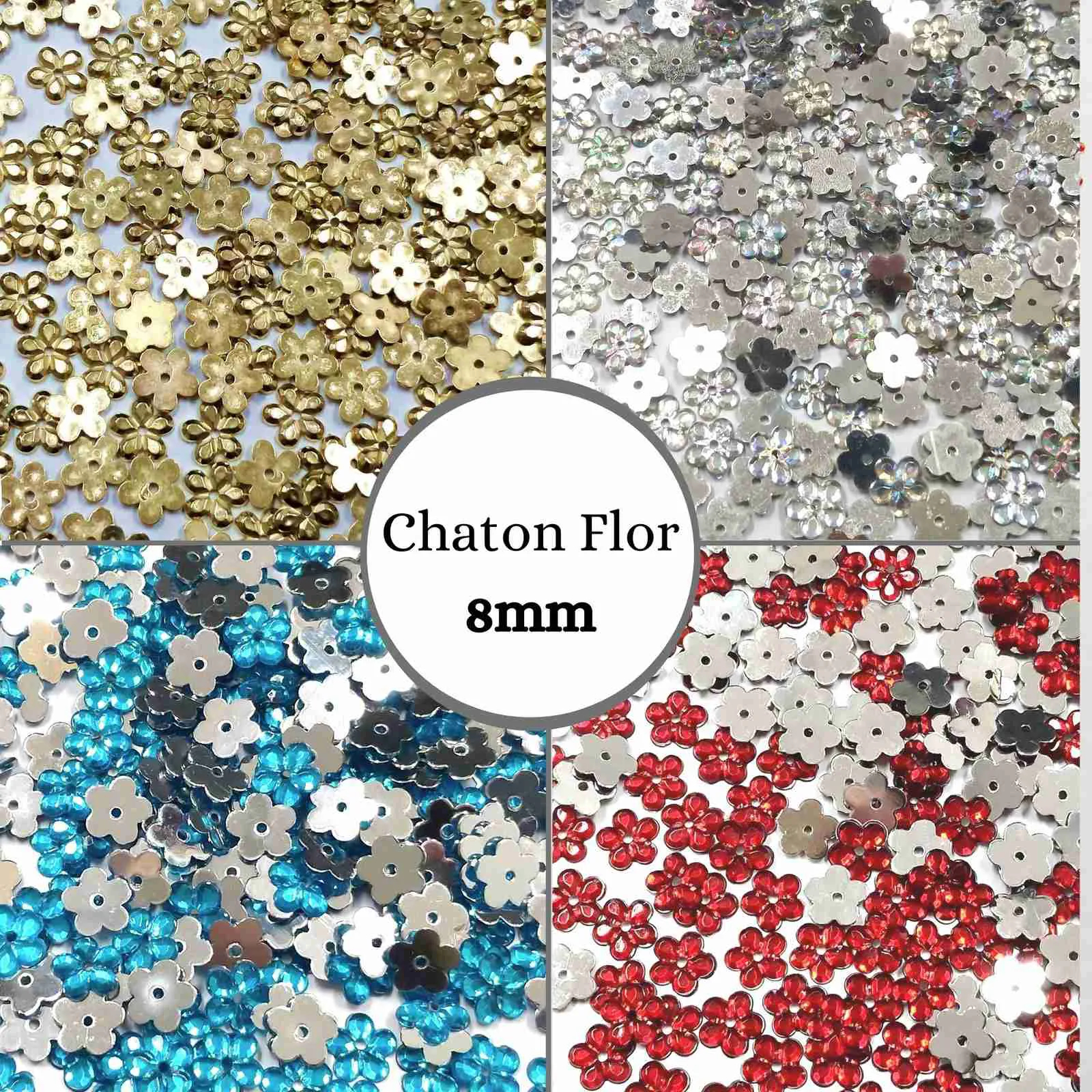 Chaton Flor 08mm - Pacote com 100 unidades