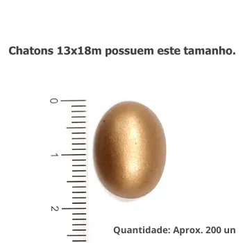Chaton Oval 13x18mm - Metalizado (Sem Furo)