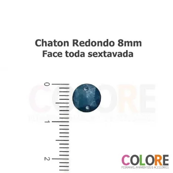 Chaton Redondo Sextavado 08mm - Metalizado