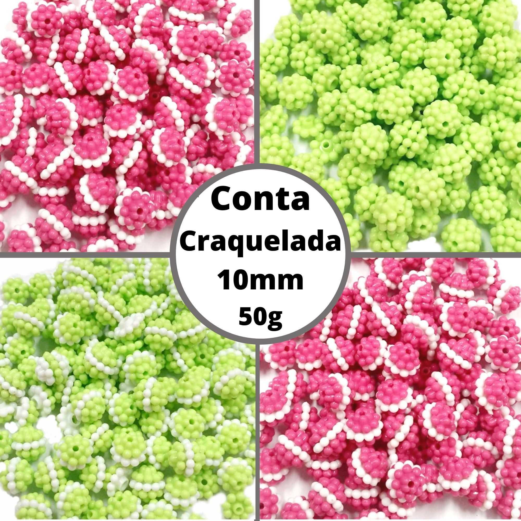 Conta Craquelada 10mm - Pacote 50g