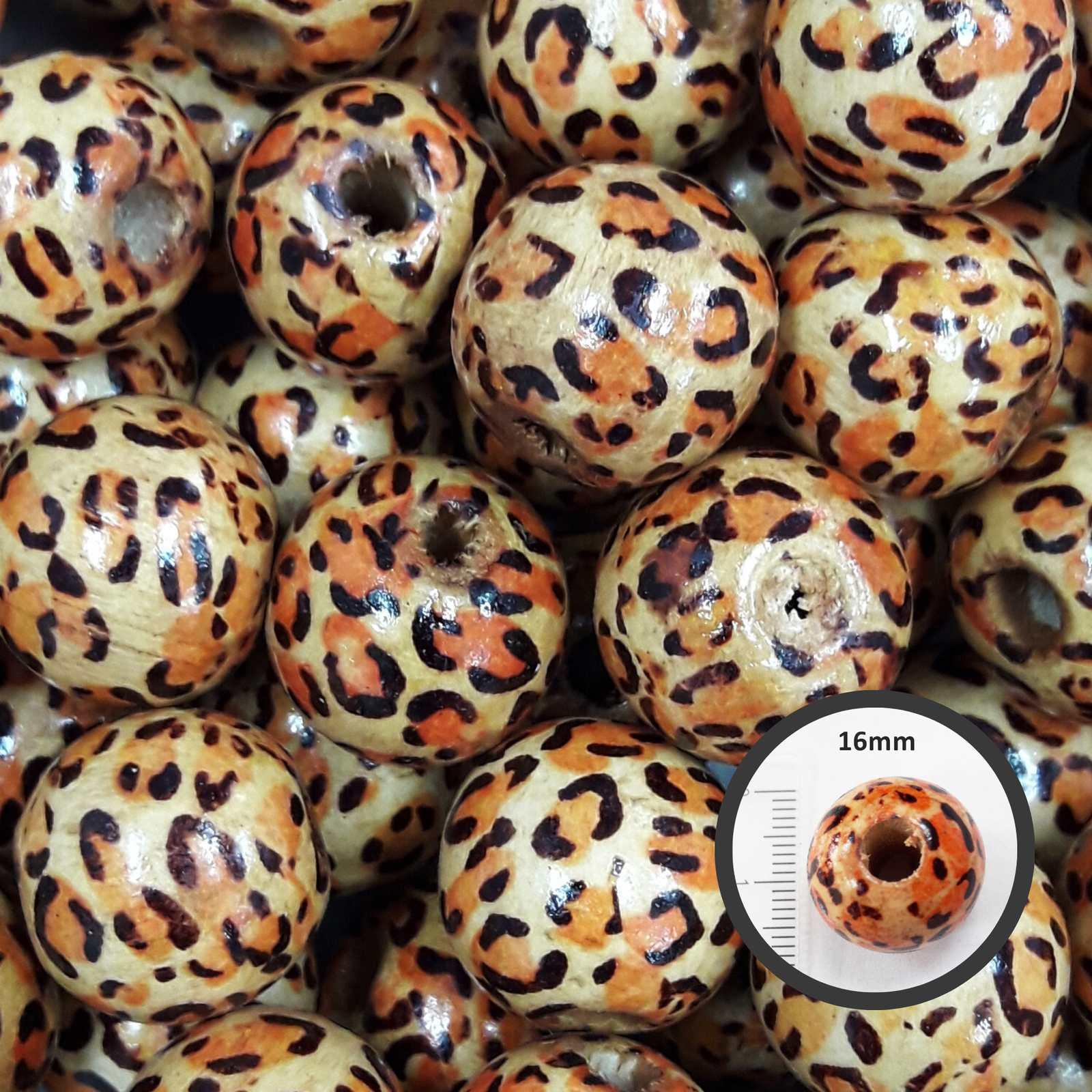 Conta de Madeira Onça 16mm C/200 unidades