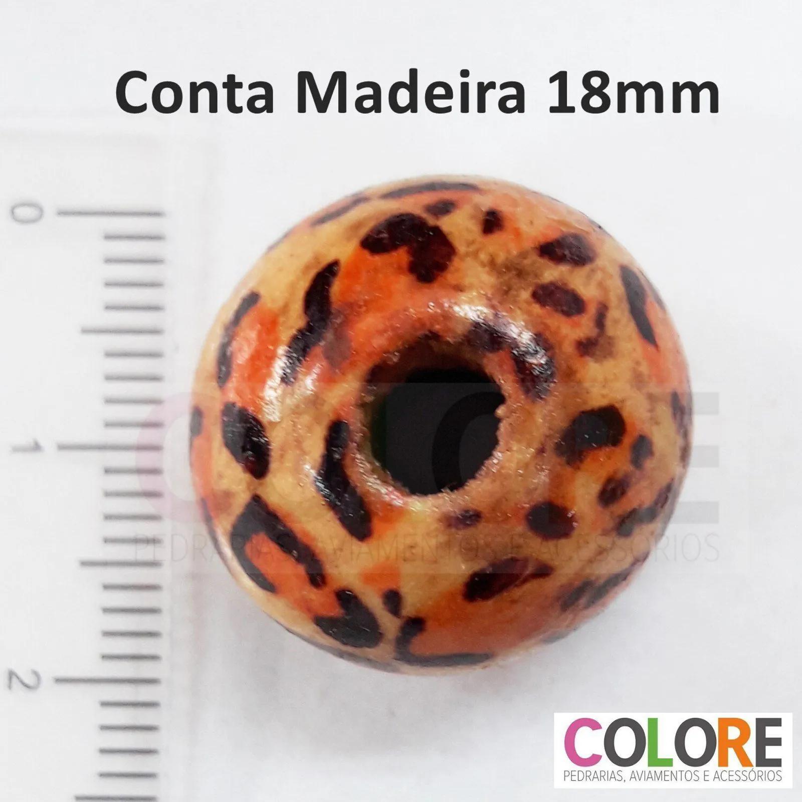 Conta de Madeira Onça 18mm  C/200 unidades