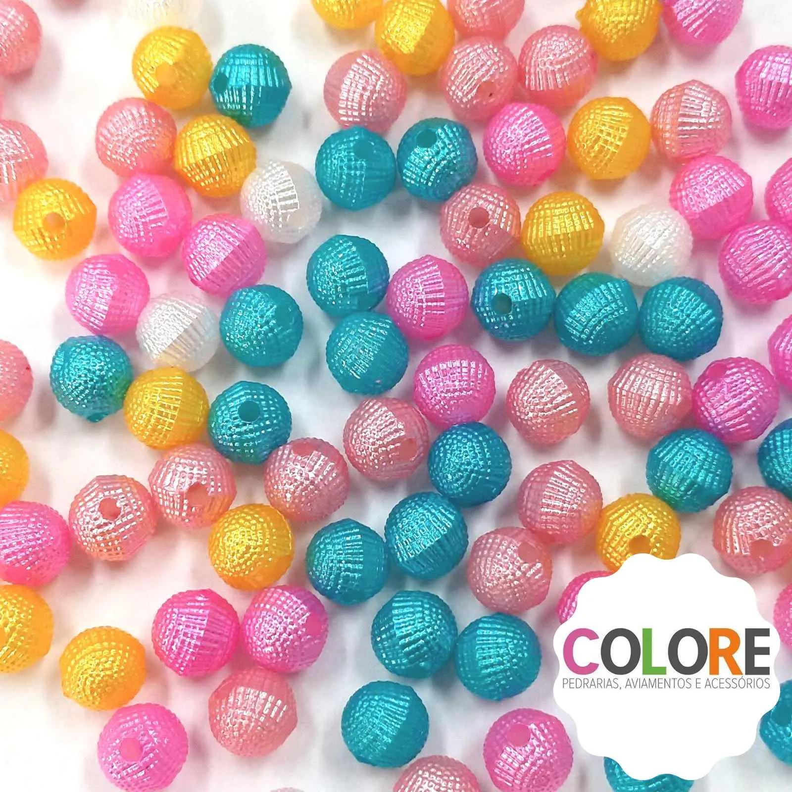 Conta Globinho Colorida 10mm - Pacote 100 unidades aproximadamente
