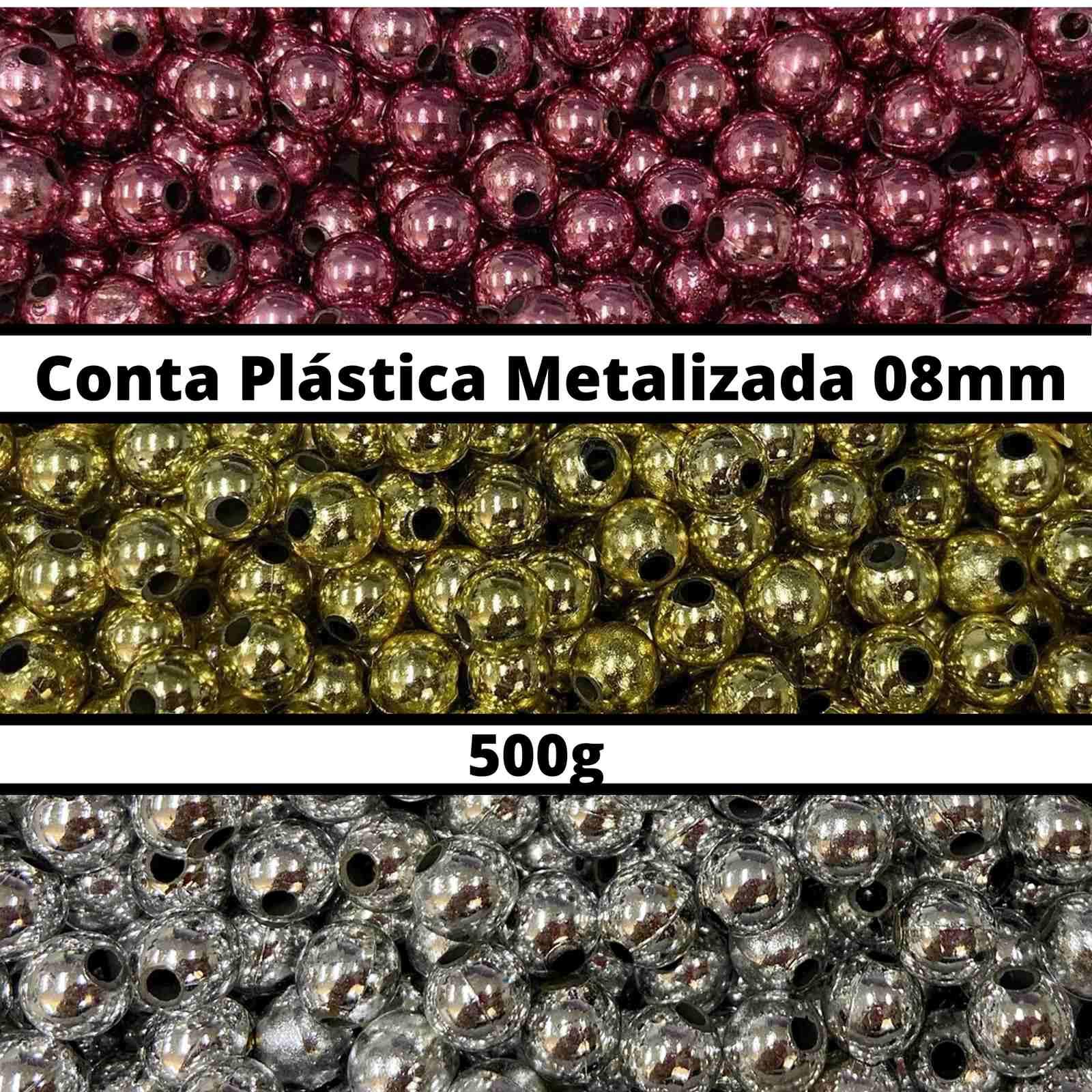 Conta Plástica Metalizada 08mm - 500g