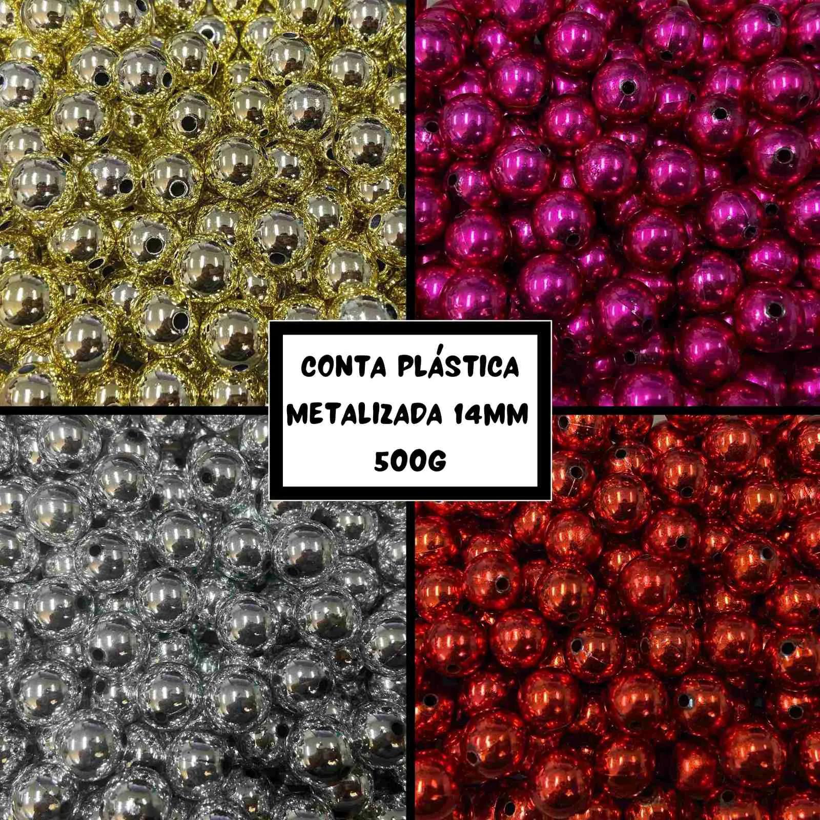 Conta Plástica Metalizada 14mm - 500g