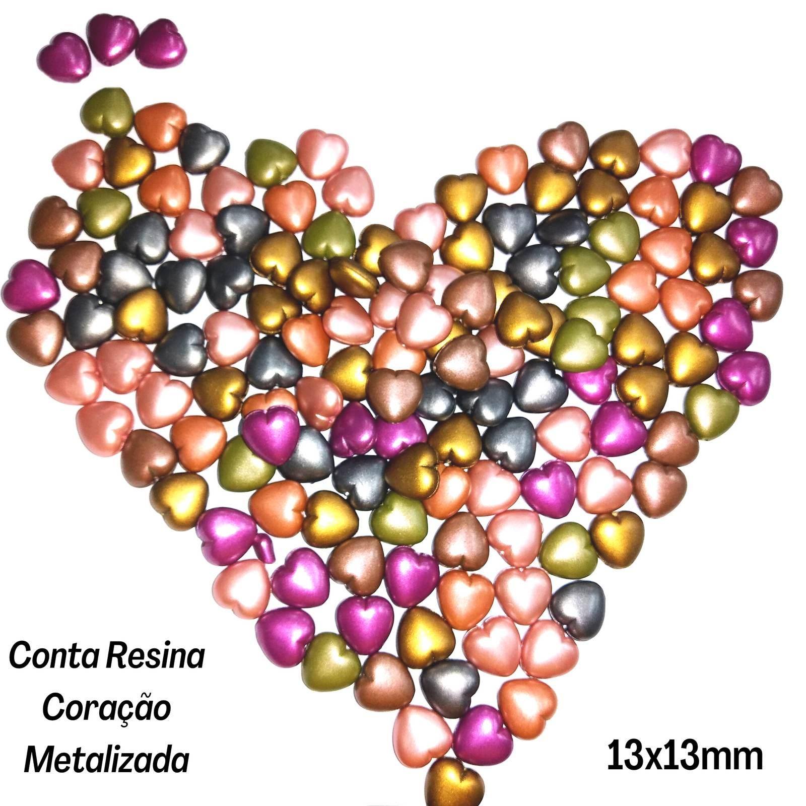 Conta Resina Coração Metalizada 13X13 C/500G