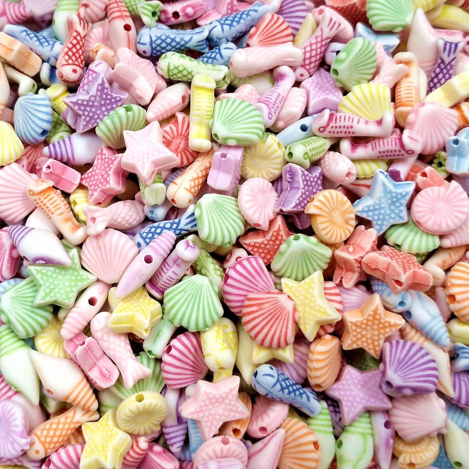 Contas Infantis Coloridas Tema Mar - Pacote 70 unidades
