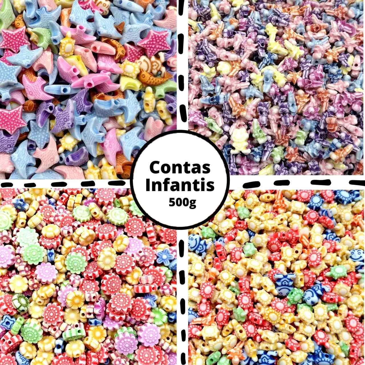Contas Infantis Diversas - Pacote com 500g