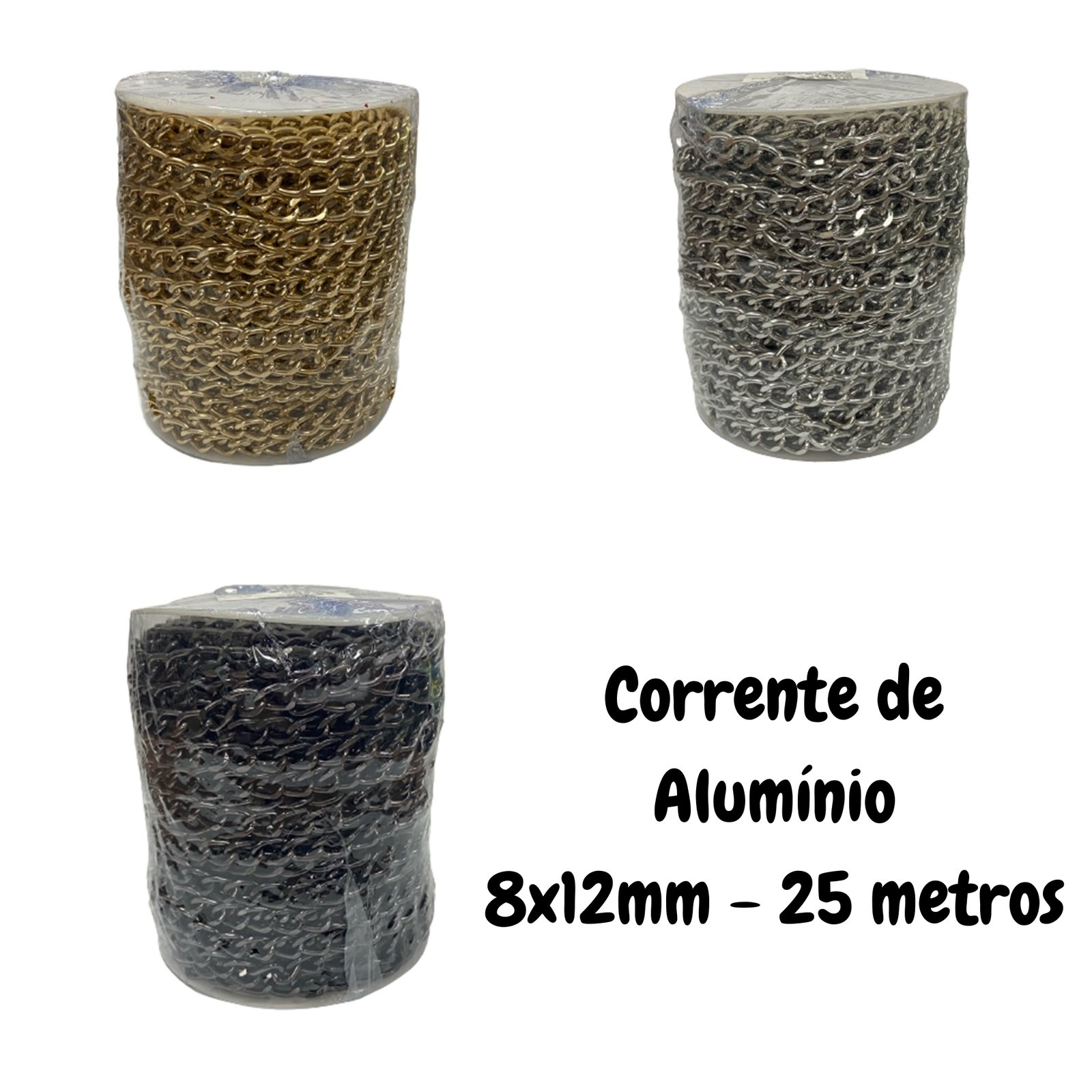 Corrente de Alumínio 10x15mm - 25 metros
