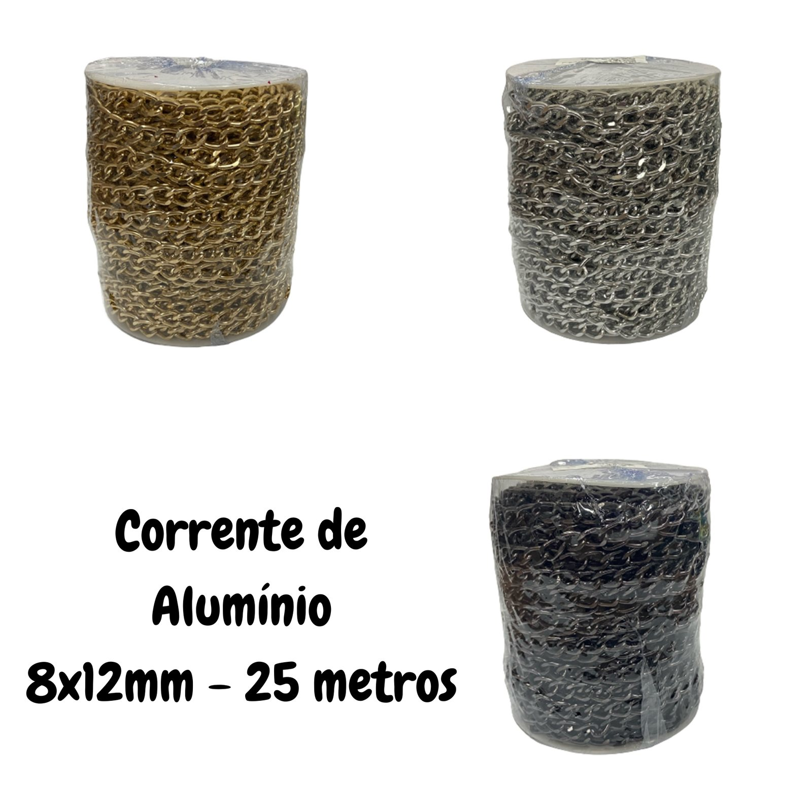 Corrente de Alumínio 8x12mm - 25 metros