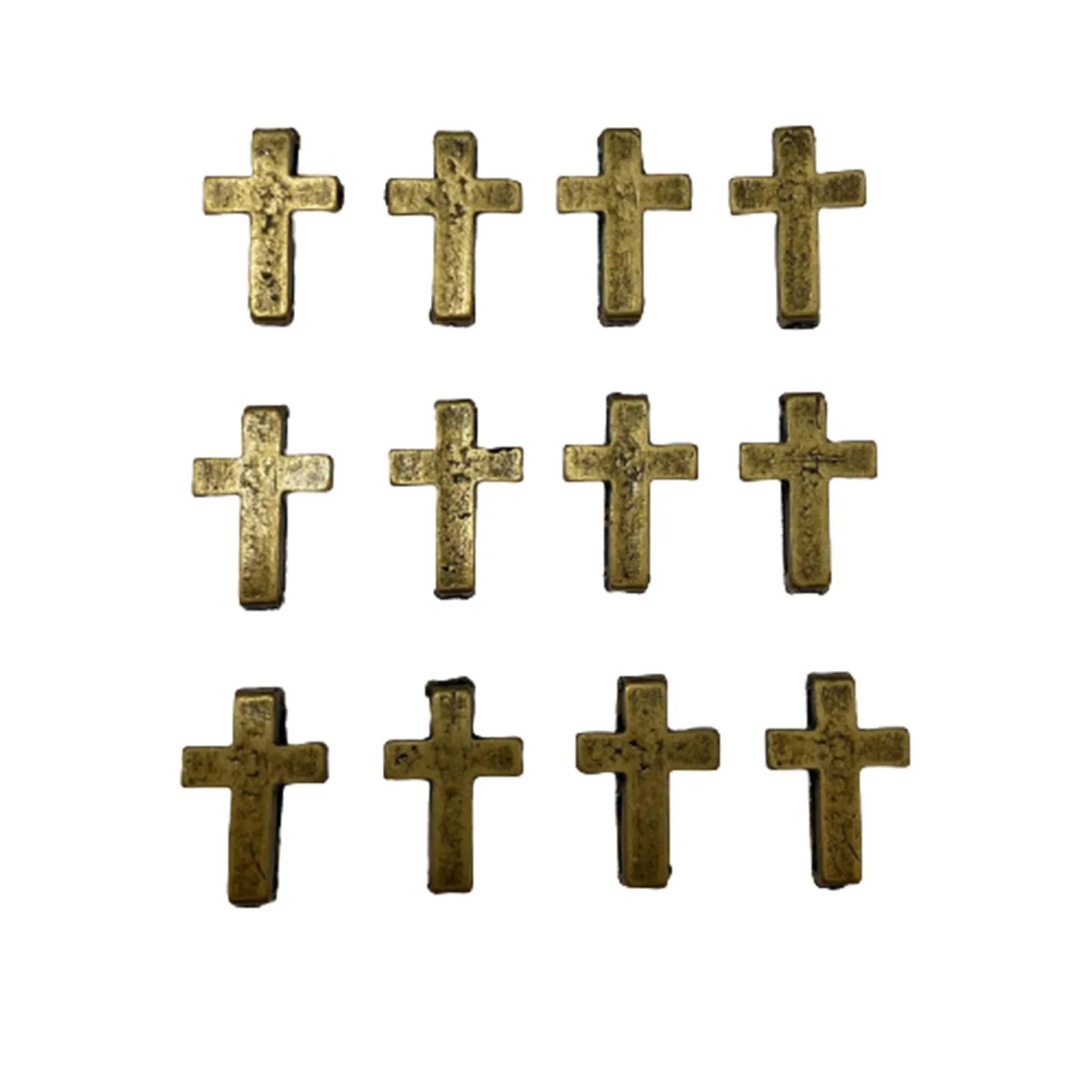 Cruz de Metal 9x8cm Ouro Velho - 5 unidades