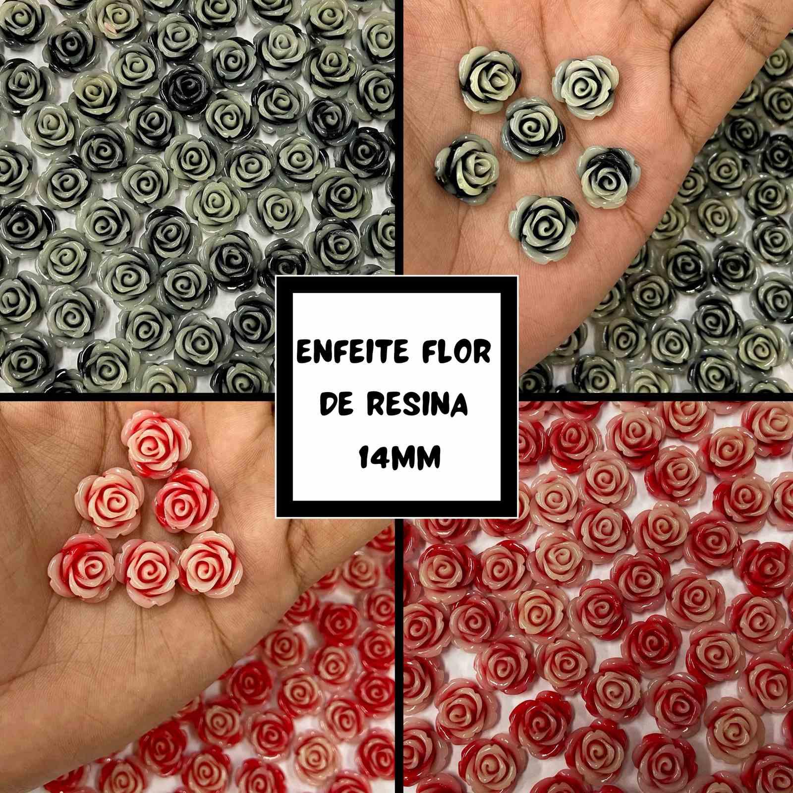 Enfeite Flor de Resina 14mm - 50 unidades