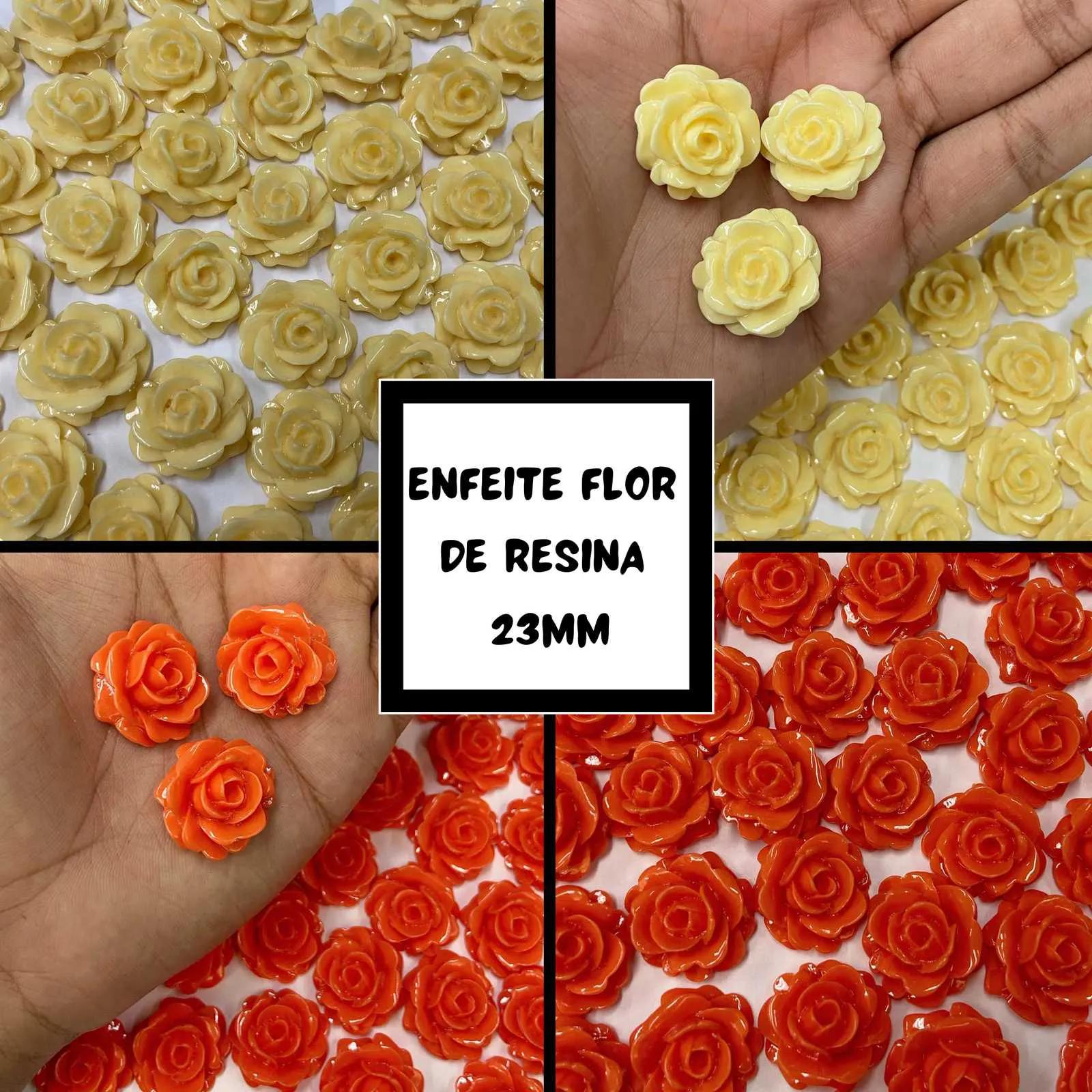 Enfeite Flor de Resina 23mm - 50 unidades