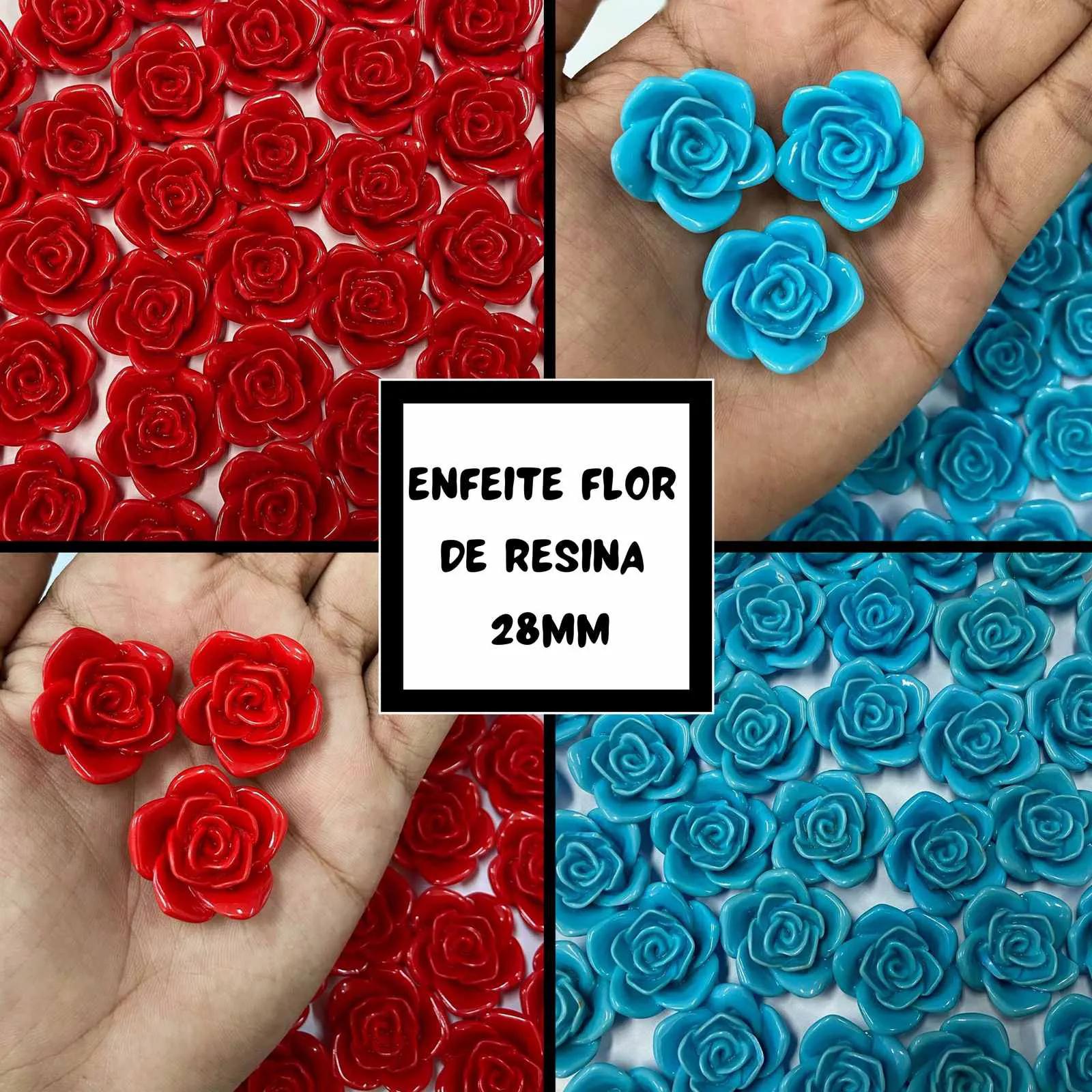 Enfeite Flor de Resina 28mm - 50 unidades