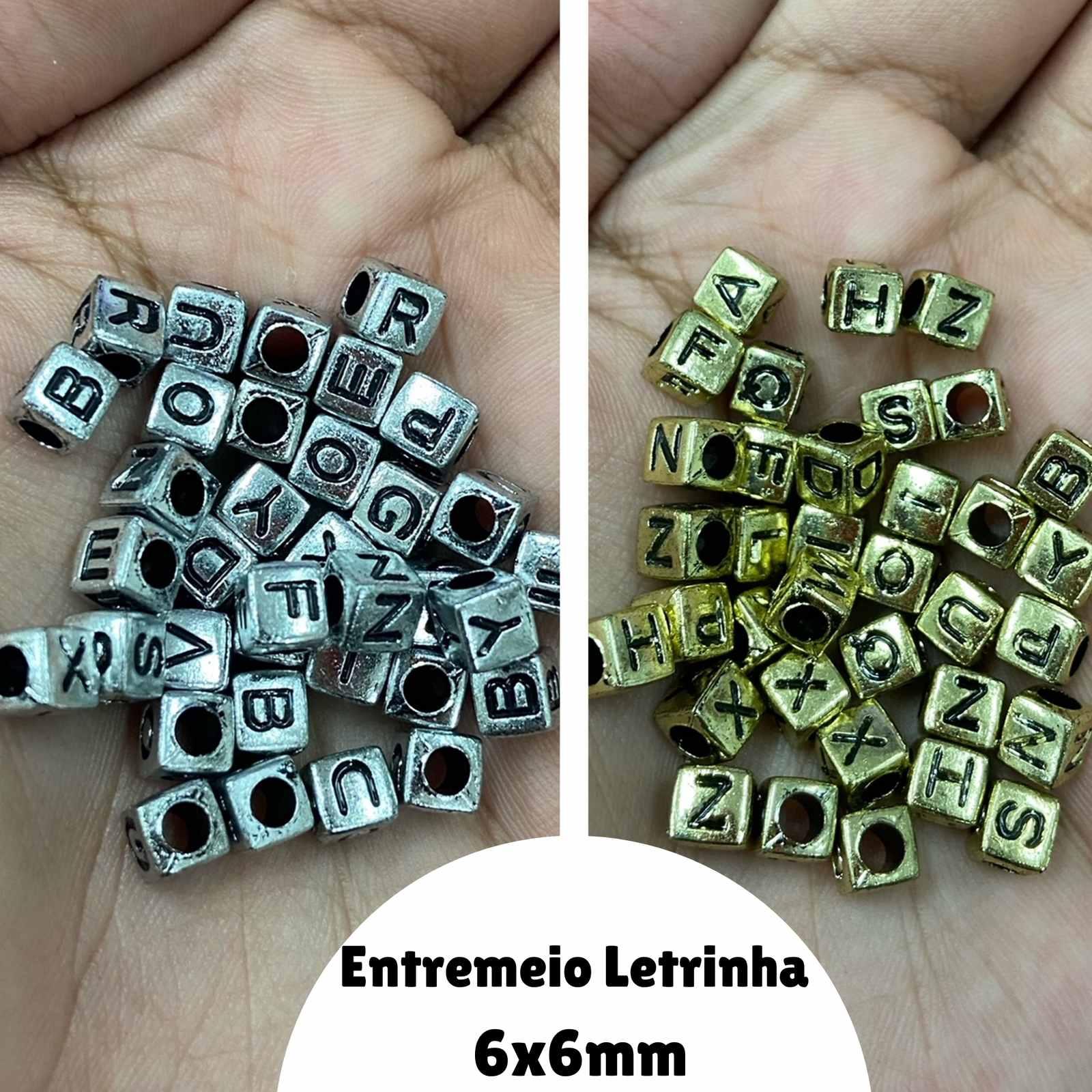 Entremeio Letras 6x6mm - 120 unidades