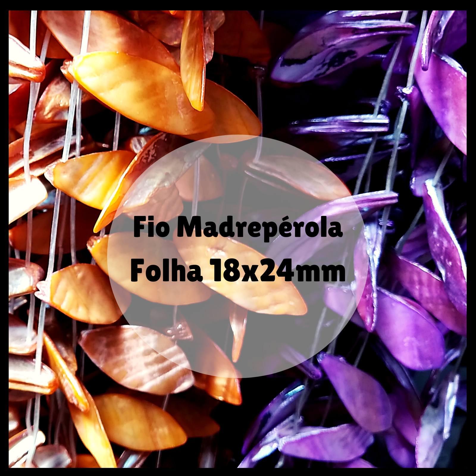 Fio de Madrepérola Folha 18x24mm aprox. 12pçs/Fio