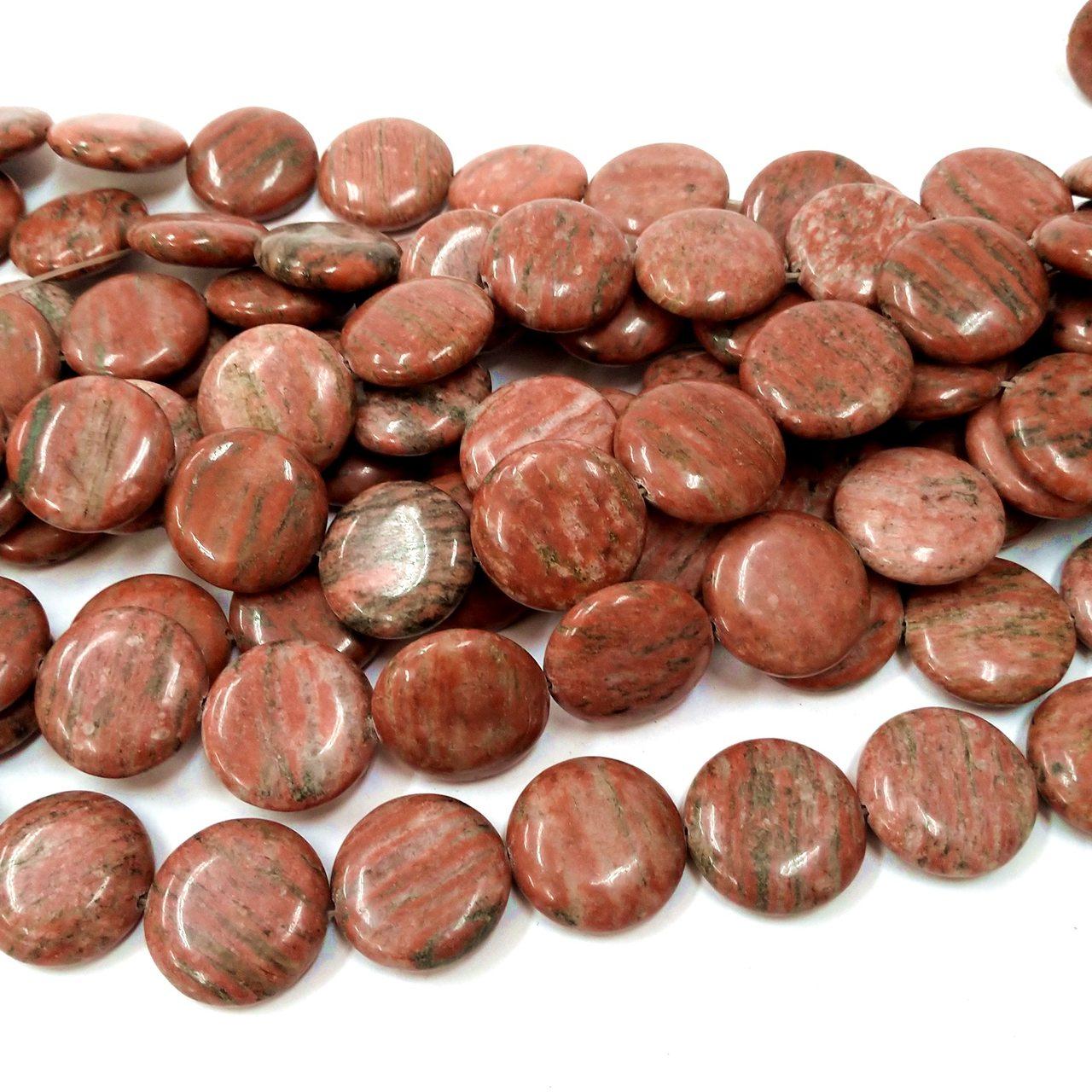 Fio de Pedra Redonda Achatada 14mm c/ 16 pedras