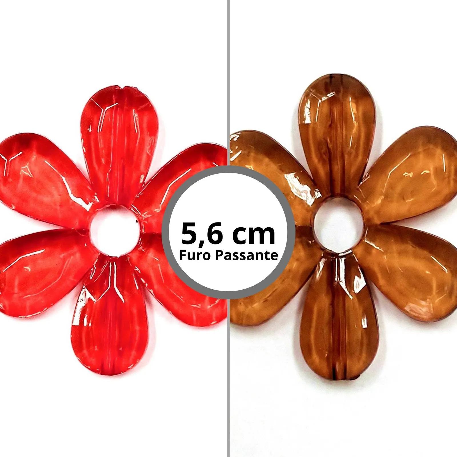 Flor Acrílica com Furo Passante 56x56mm c/ 500g