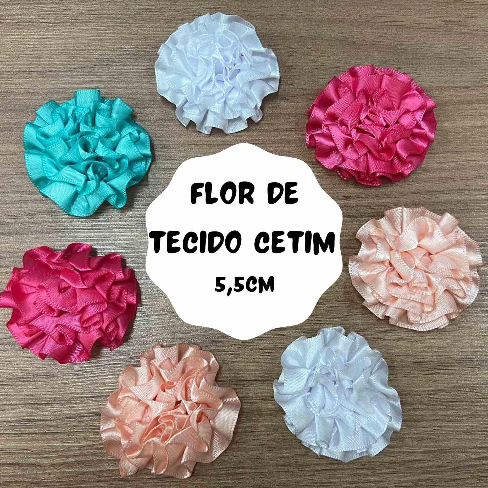 Flor de Tecido Cetim 5,5cm - 2 unidades
