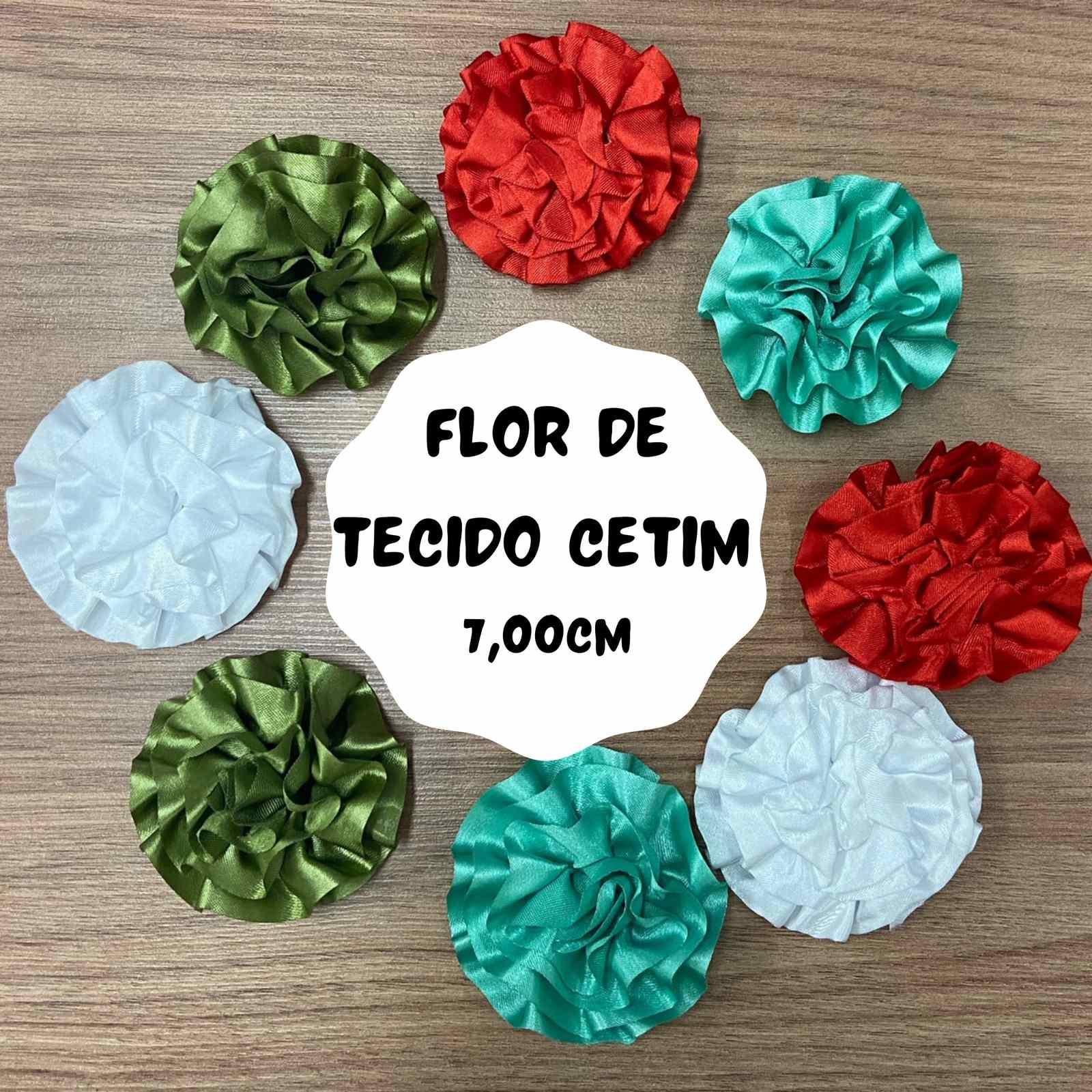 Flor de Tecido Cetim 7cm - 2 unidades