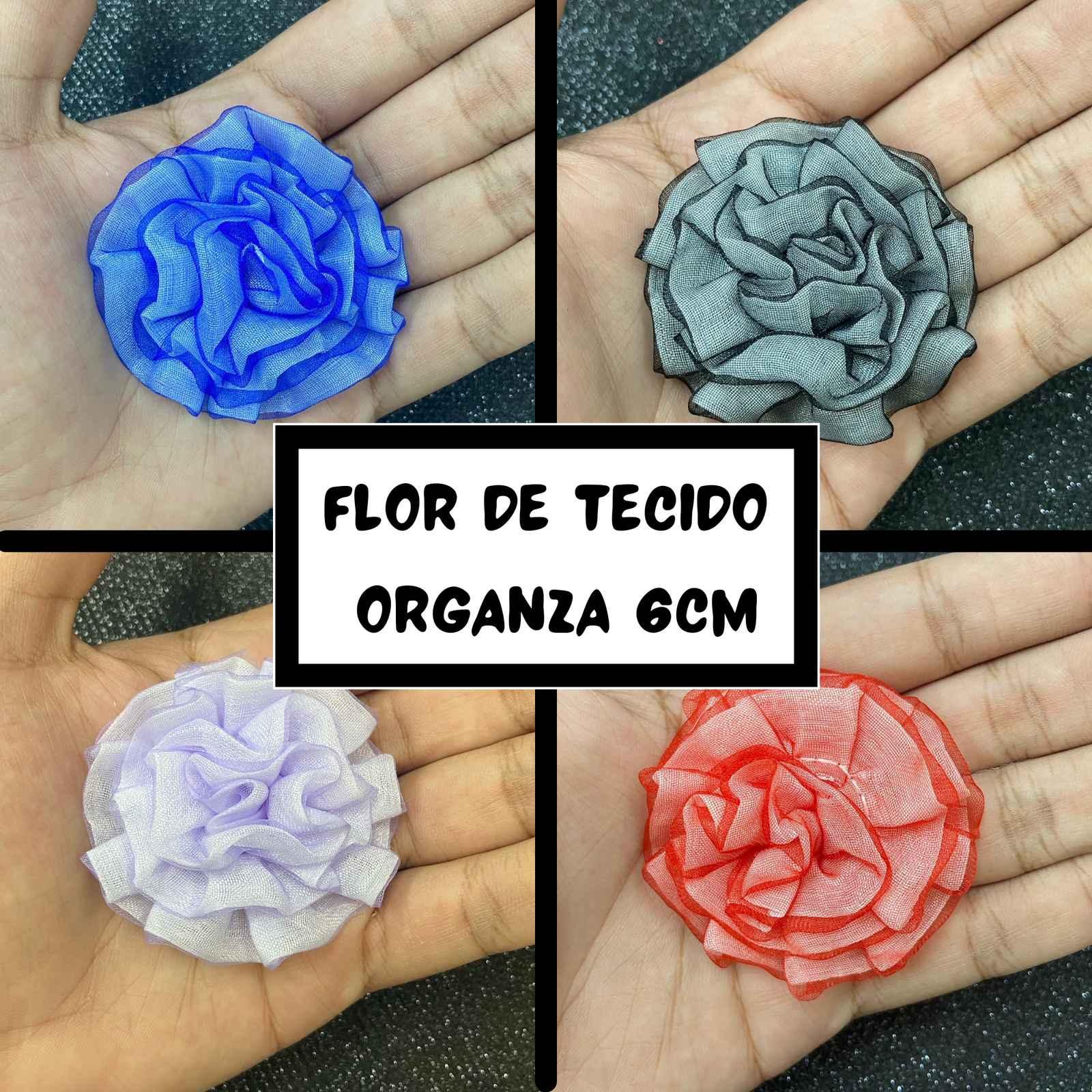 Flor de Tecido Organza 6,0cm - 2 unidades