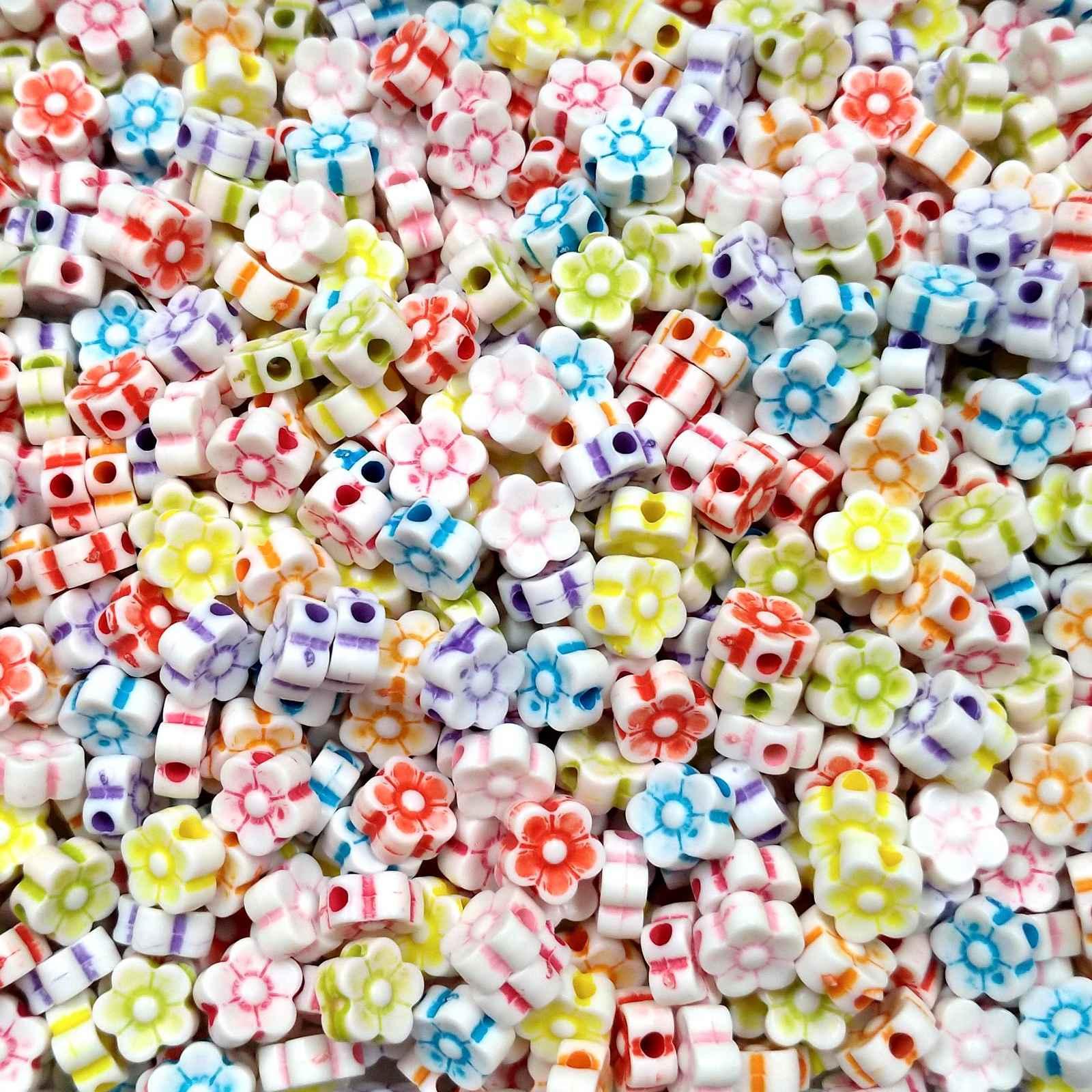 Florzinha Plástica Colorida 8mm - Pacote 100 unidades