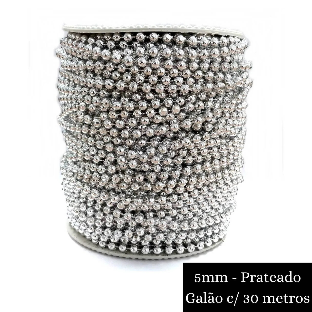 Galão Corrente / Aljofre Plástico Formato Conta Lisa - 1 Galão