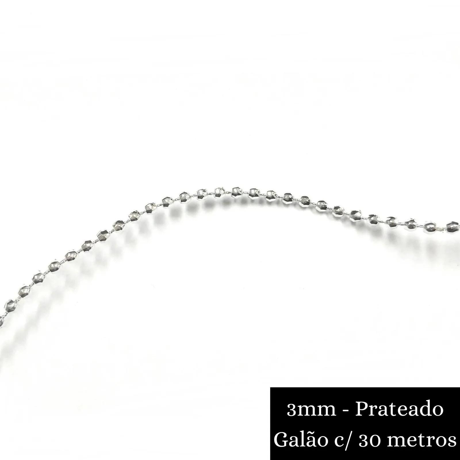 Galão Corrente / Aljofre Plástico Formato Conta Sextavada