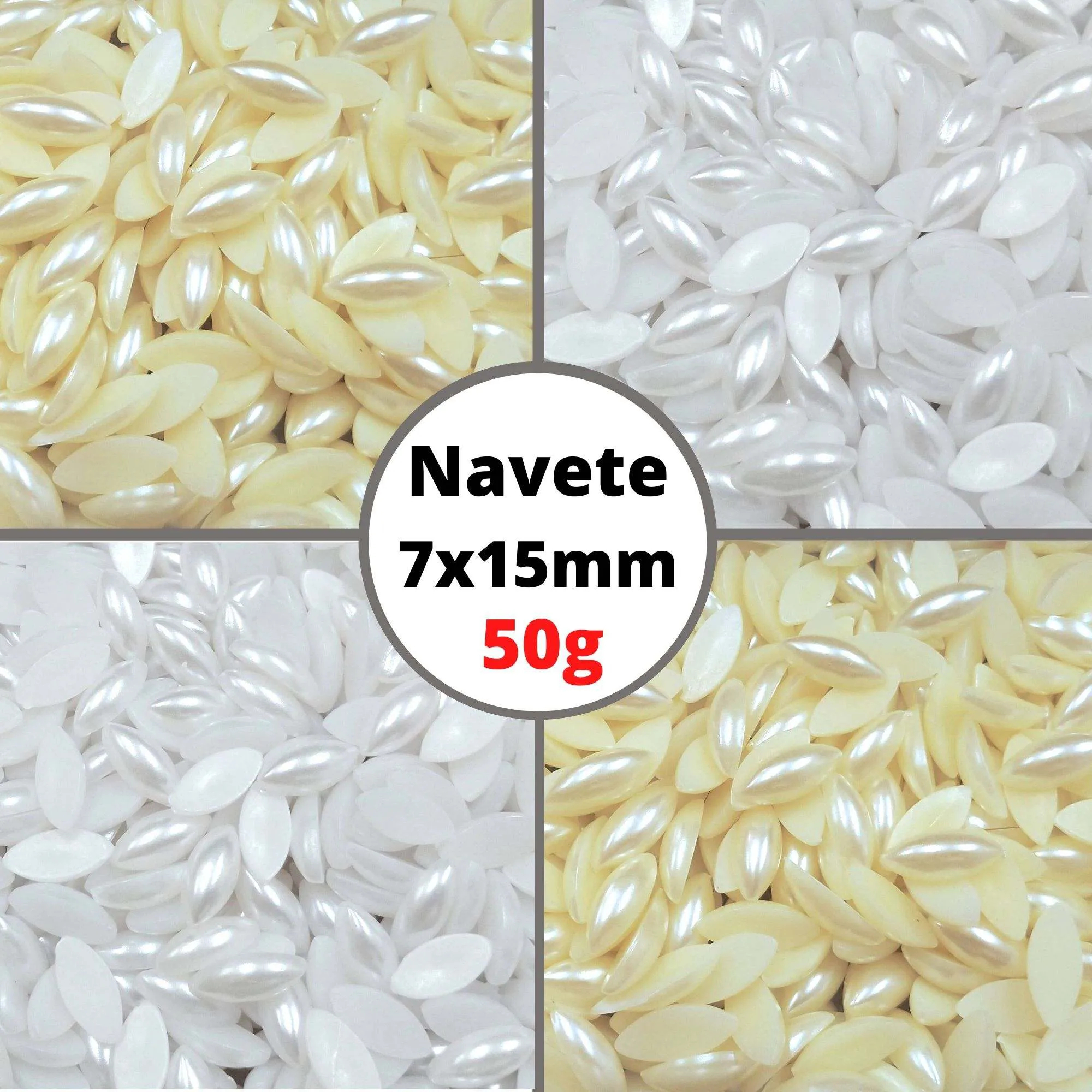 Meia Pérola Navete 7X15,0mm Sem Furo - Pacote 50g