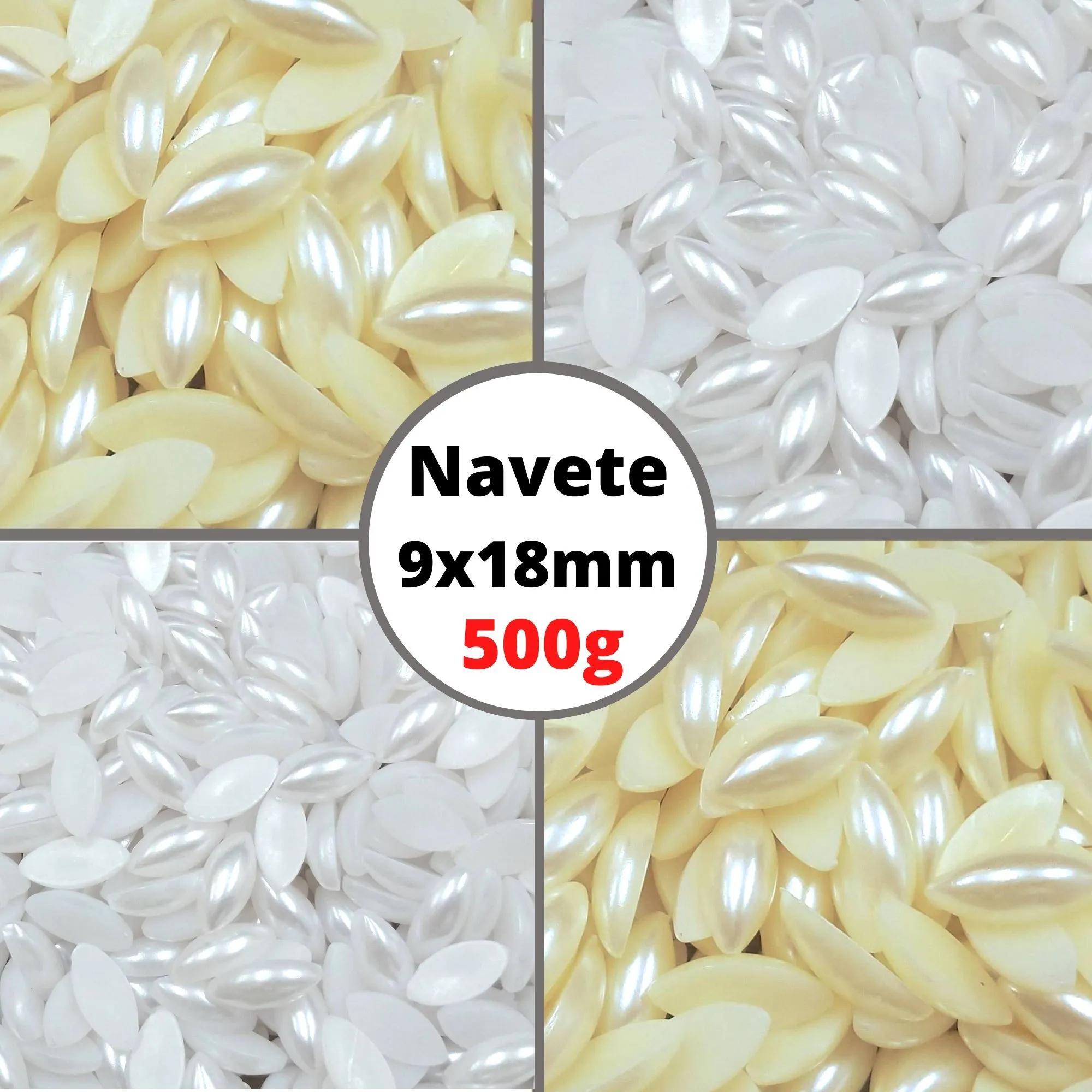 Meia Pérola Navete 9x18,0mm Sem Furo- Pacote 500g