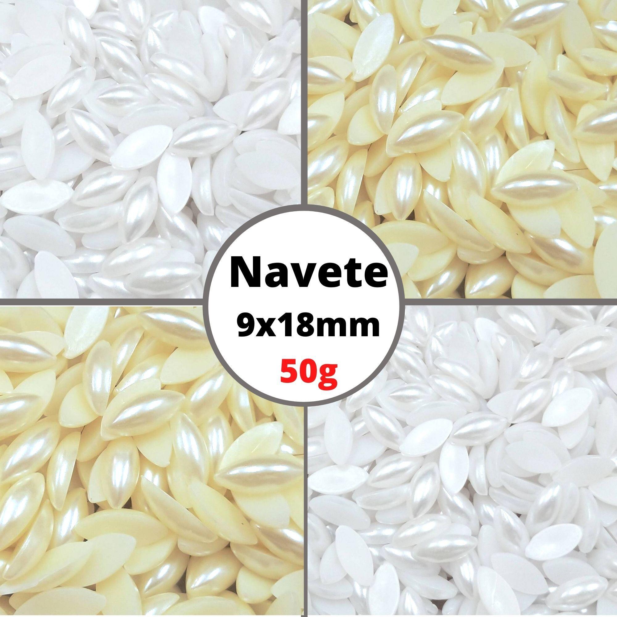 Meia Pérola Navete 9X18,0mm Sem Furo - Pacote 50g