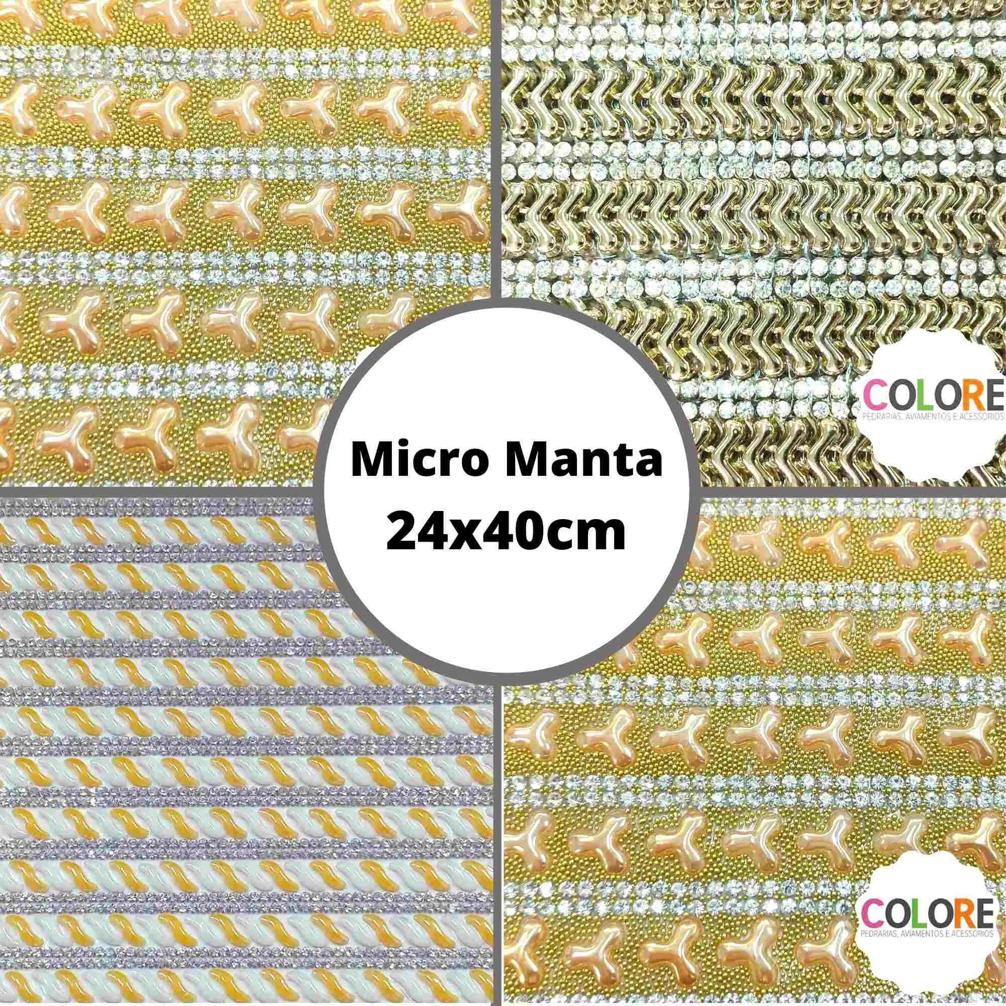 Micro Manta c/ Strass Formados Variados - Tamanho 24x40cm - 1 unidade