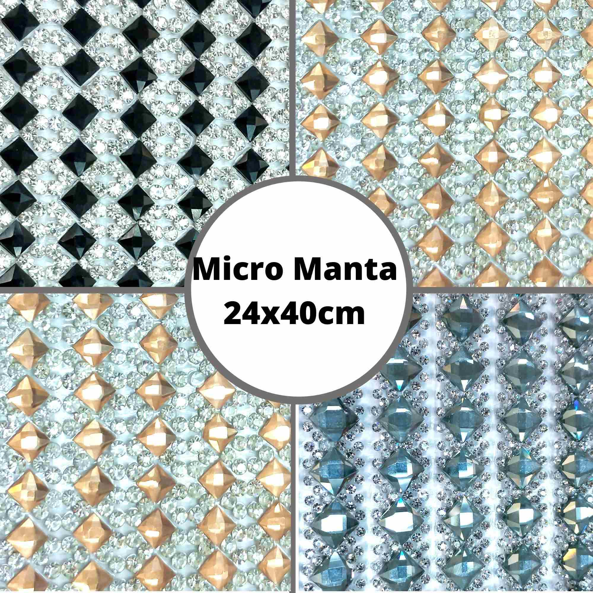 Micro Manta C/Strass Losango - Tamanho 24x40cm - 1 unidade