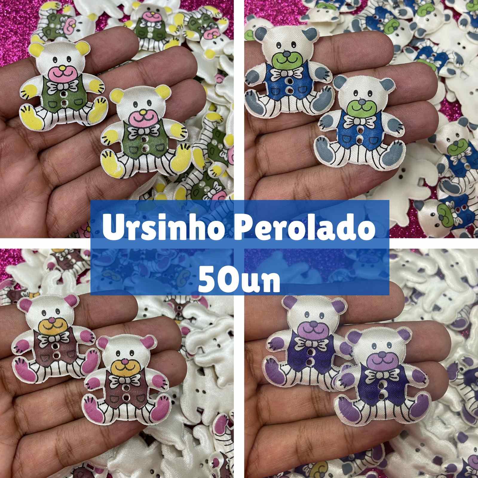 Pelúcia Ursinho Perolado - 50 unidades