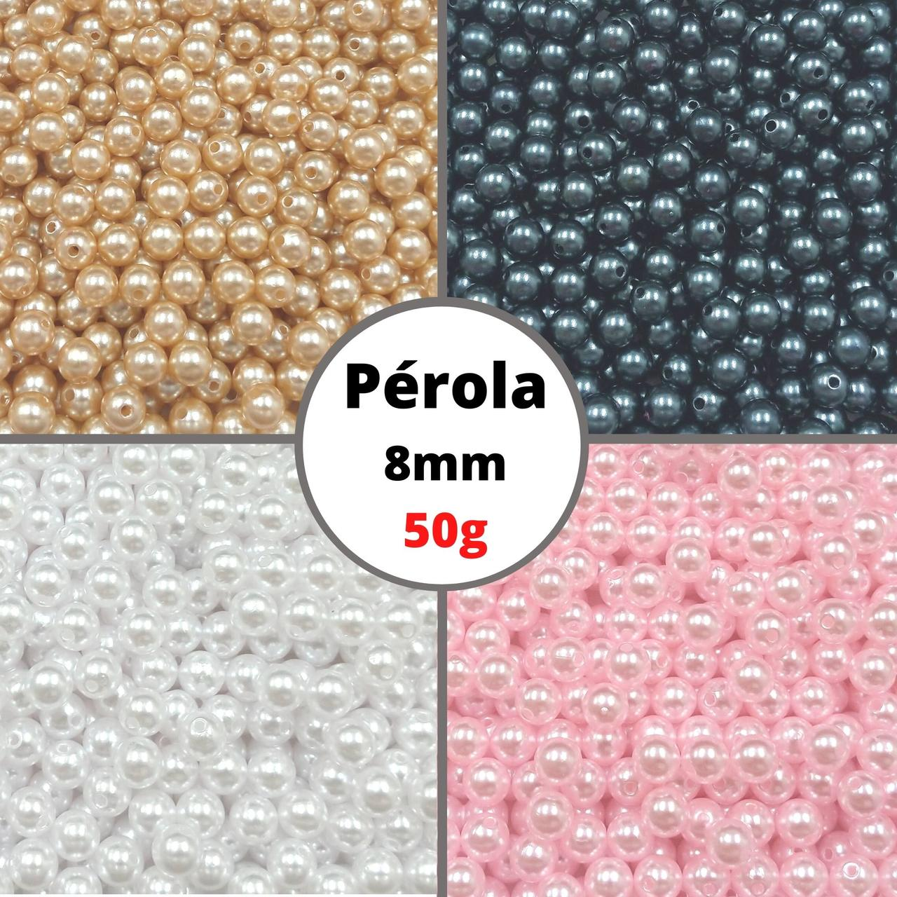 Pérola Inteira ABS CLR 08mm - Pacote 50g