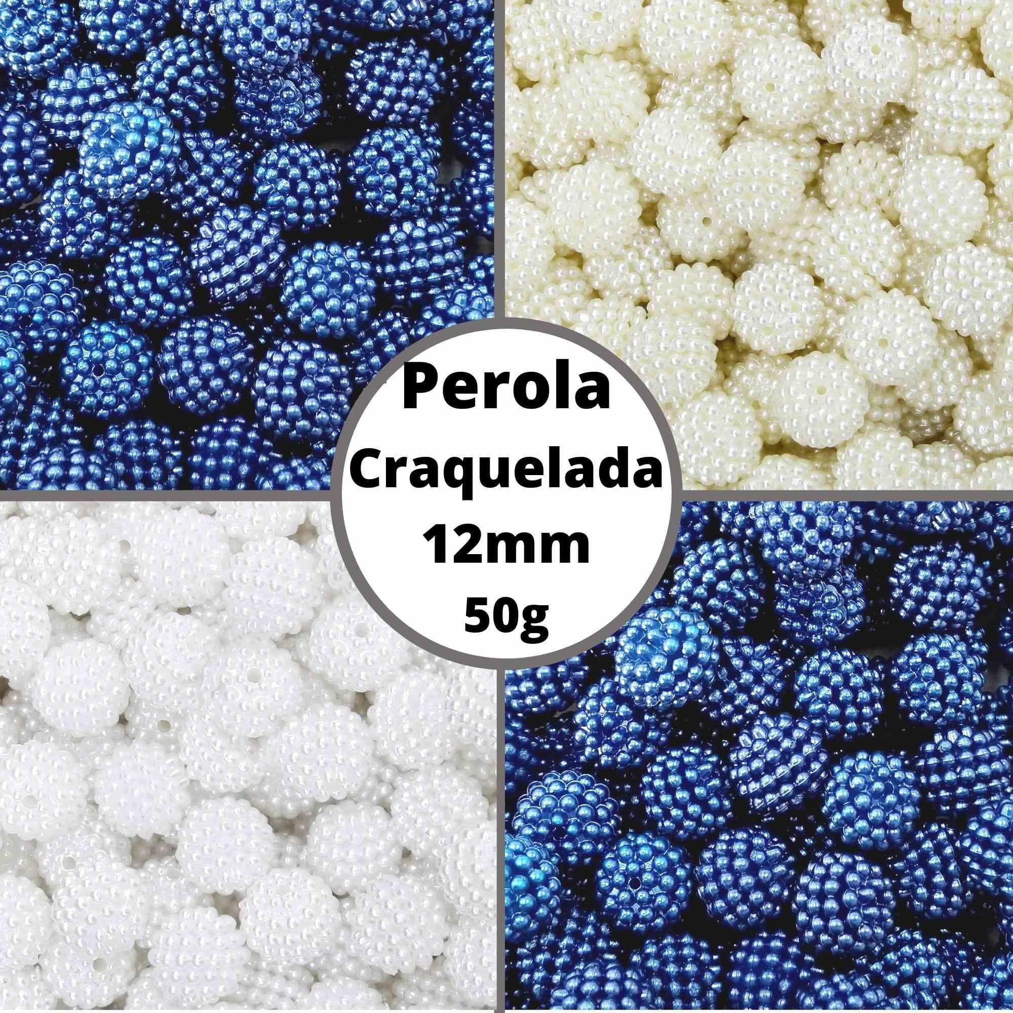 Pérola Inteira Craquelada ABS CLR 12mm - Pacote 50g