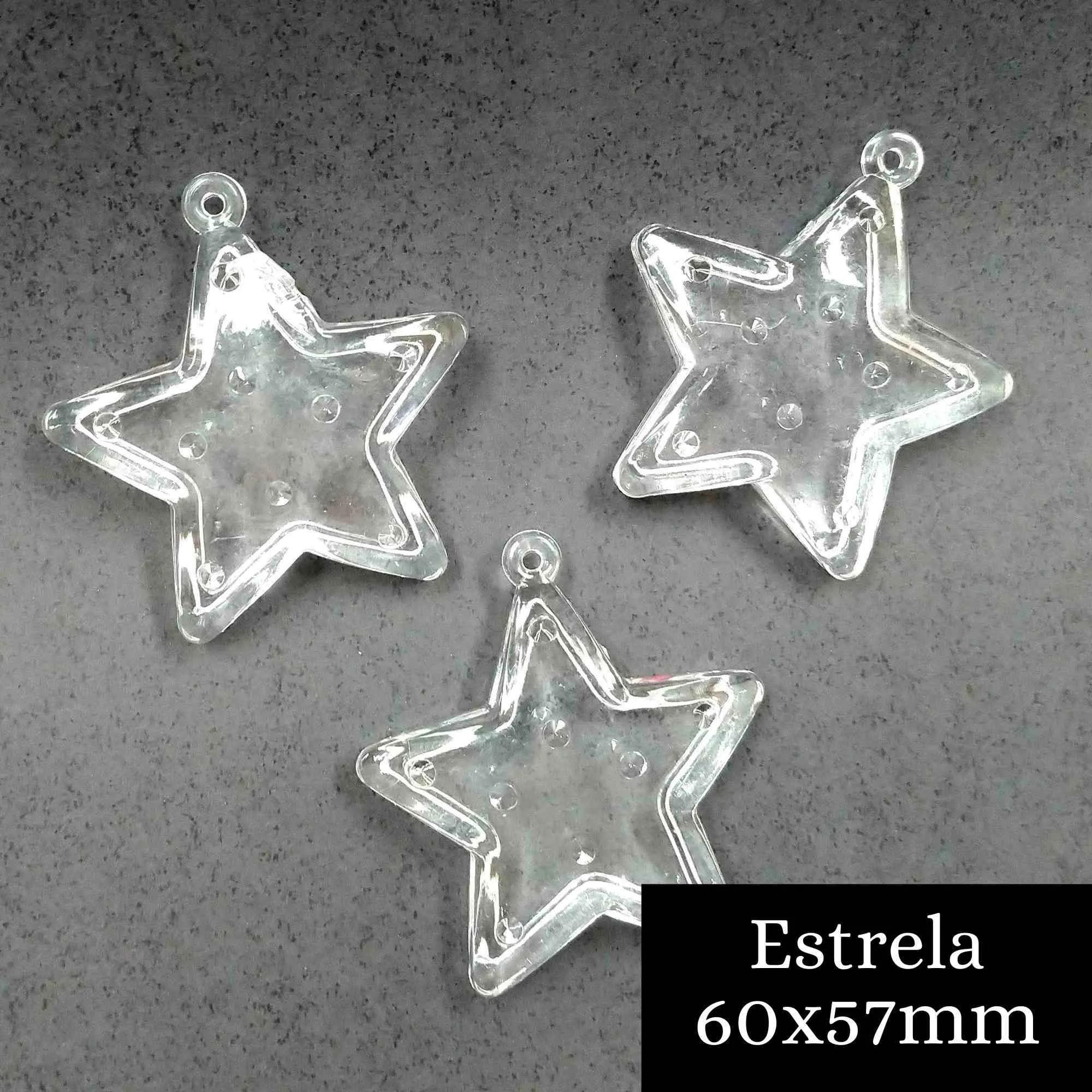 Pingente Acrílico Estrela 60x57mm - 1 unidade