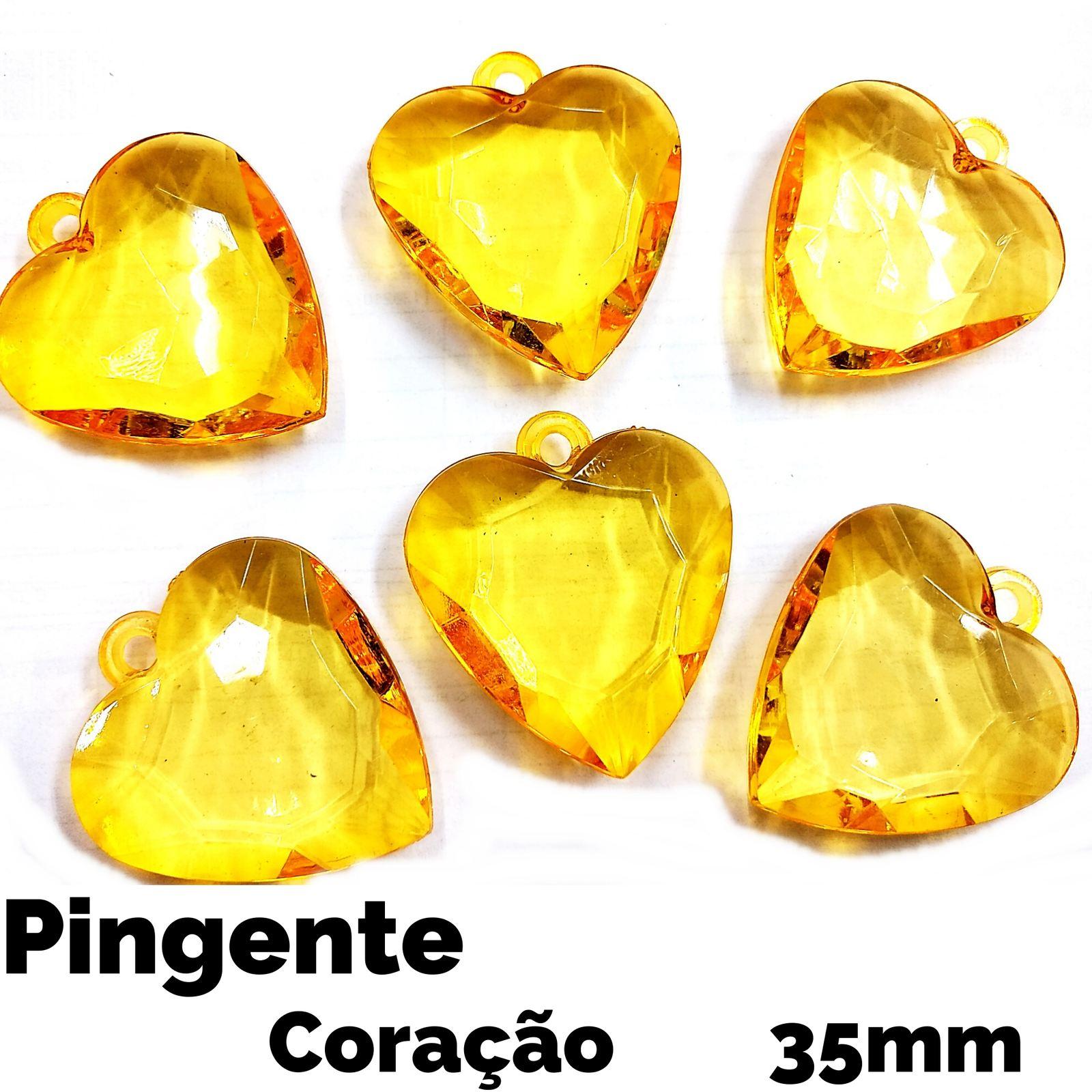Pingente Coração Acrílico 35mm c/21 Unidades