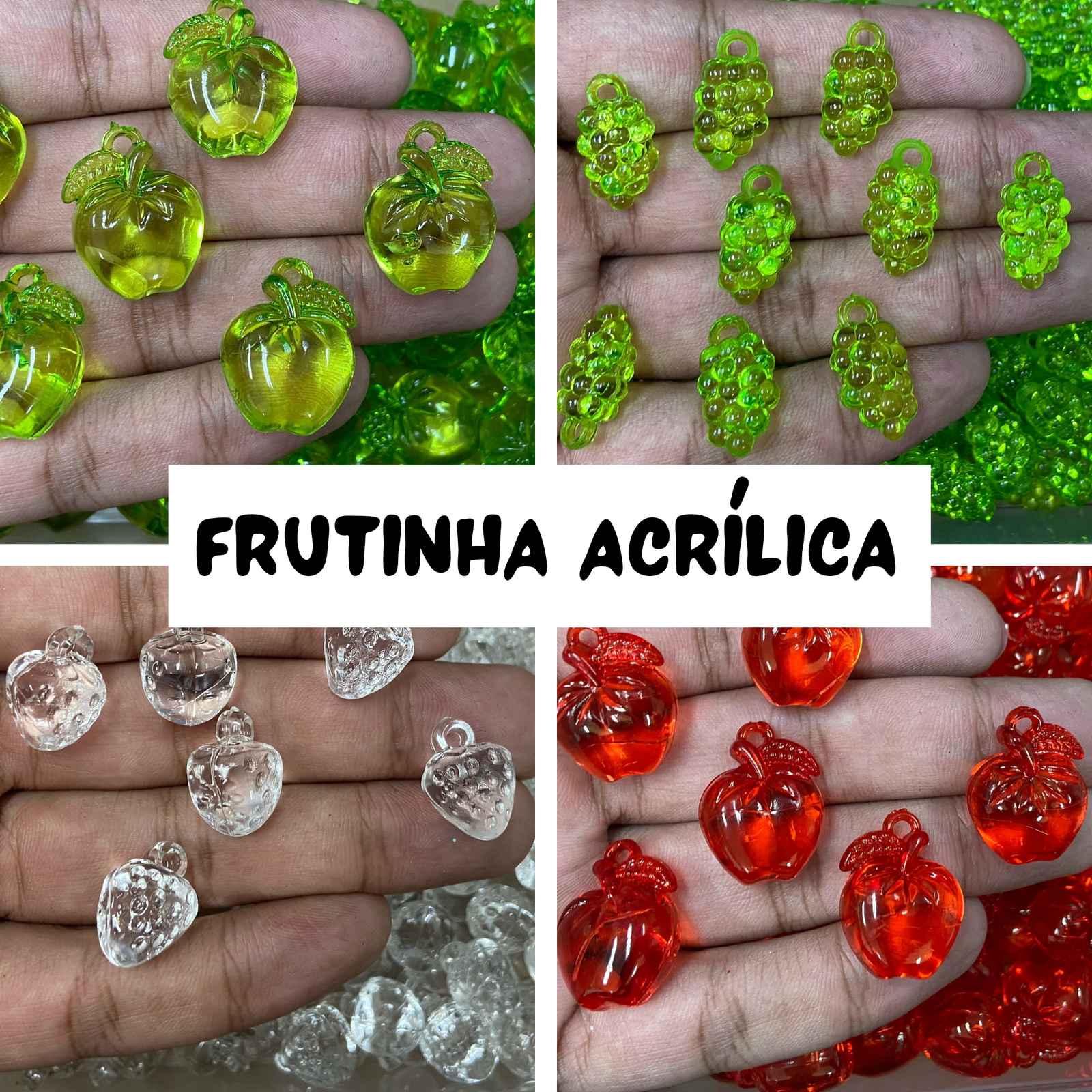Pingentes Acrílicos de Frutinhas - Tamanhos Diversos - Pacote c/ 250g