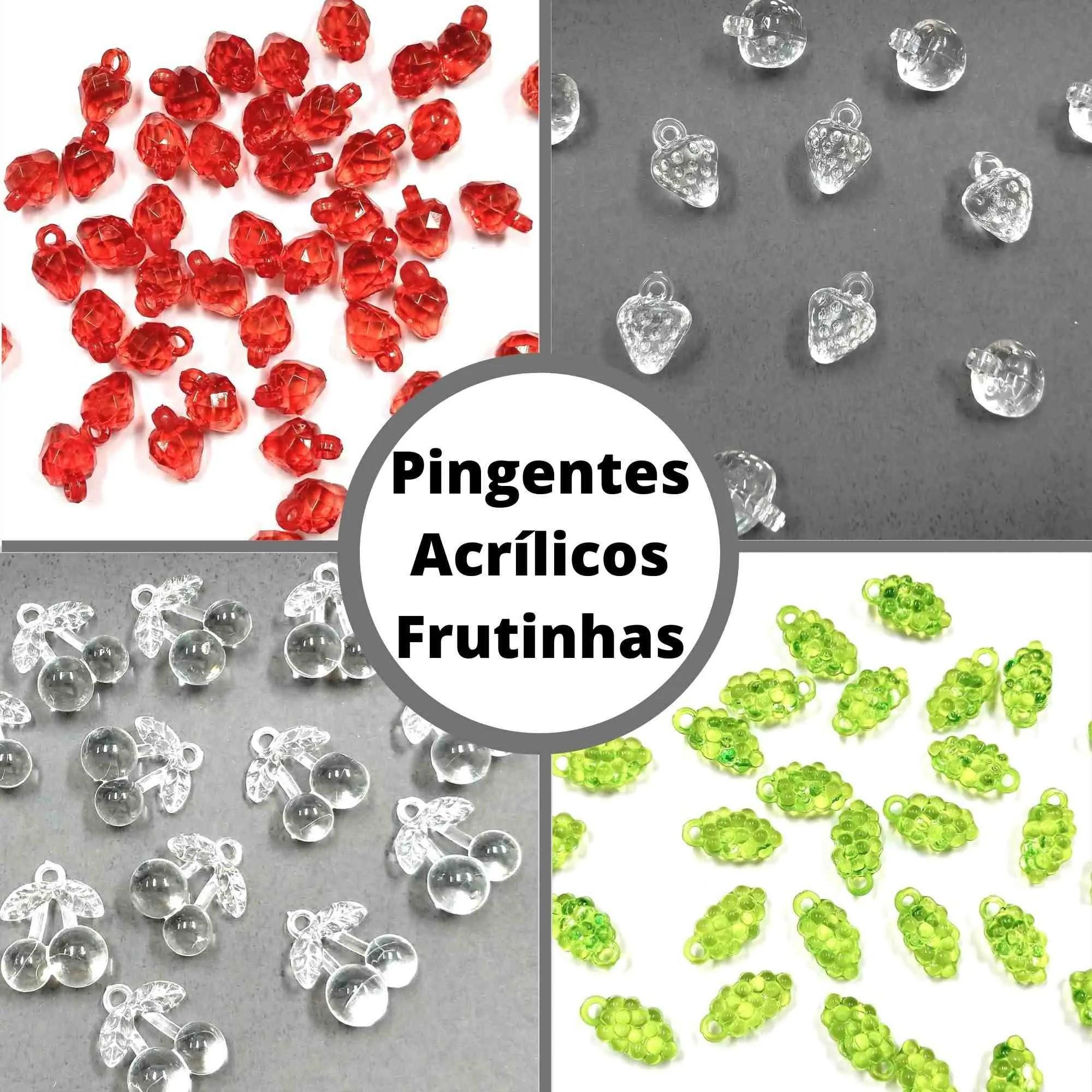 Pingentes Acrílicos de Frutinhas - Tamanhos Diversos - Pacote c/ 500g