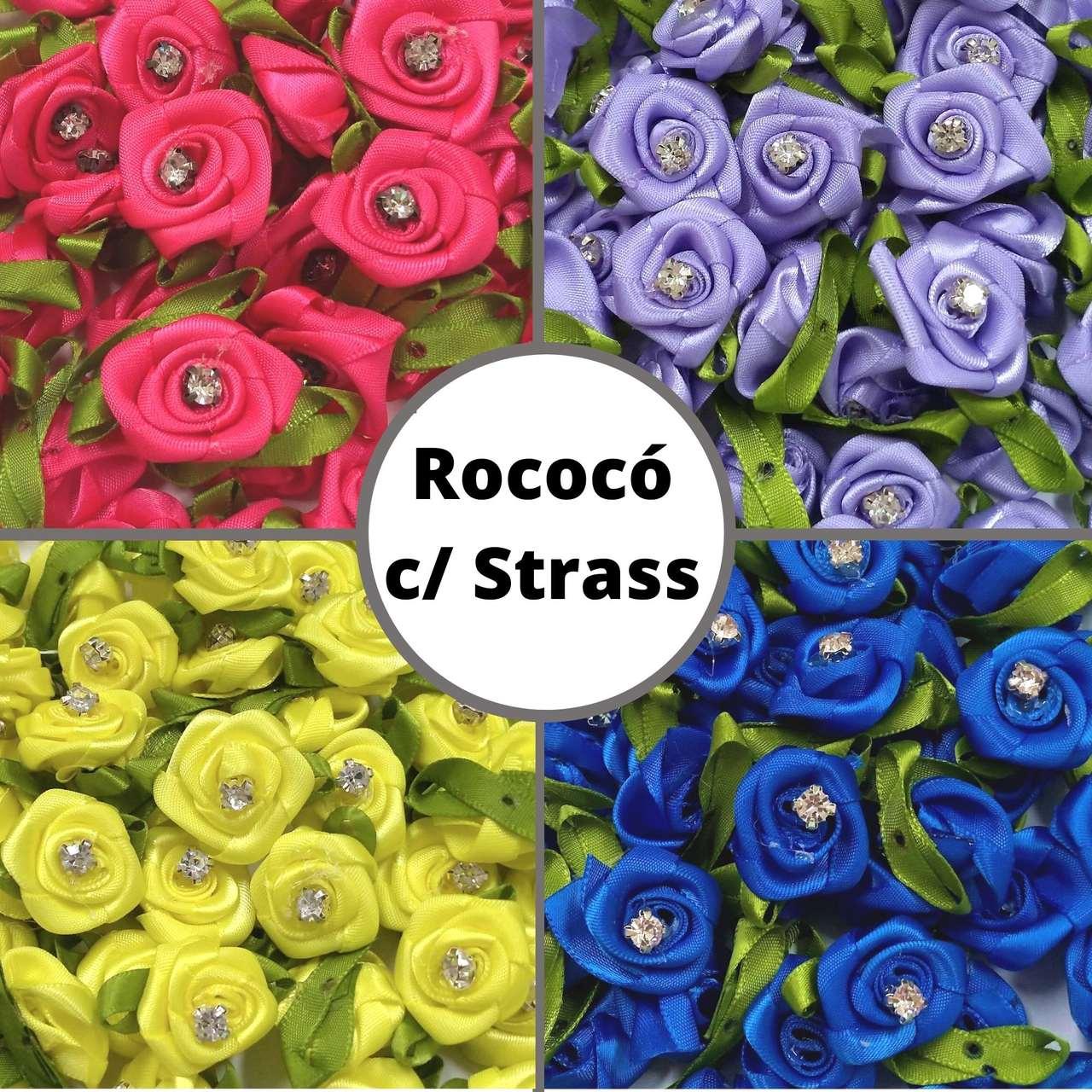 Rococó 2,5cm Com Folha e Strass - Pacote c/ 100 peças