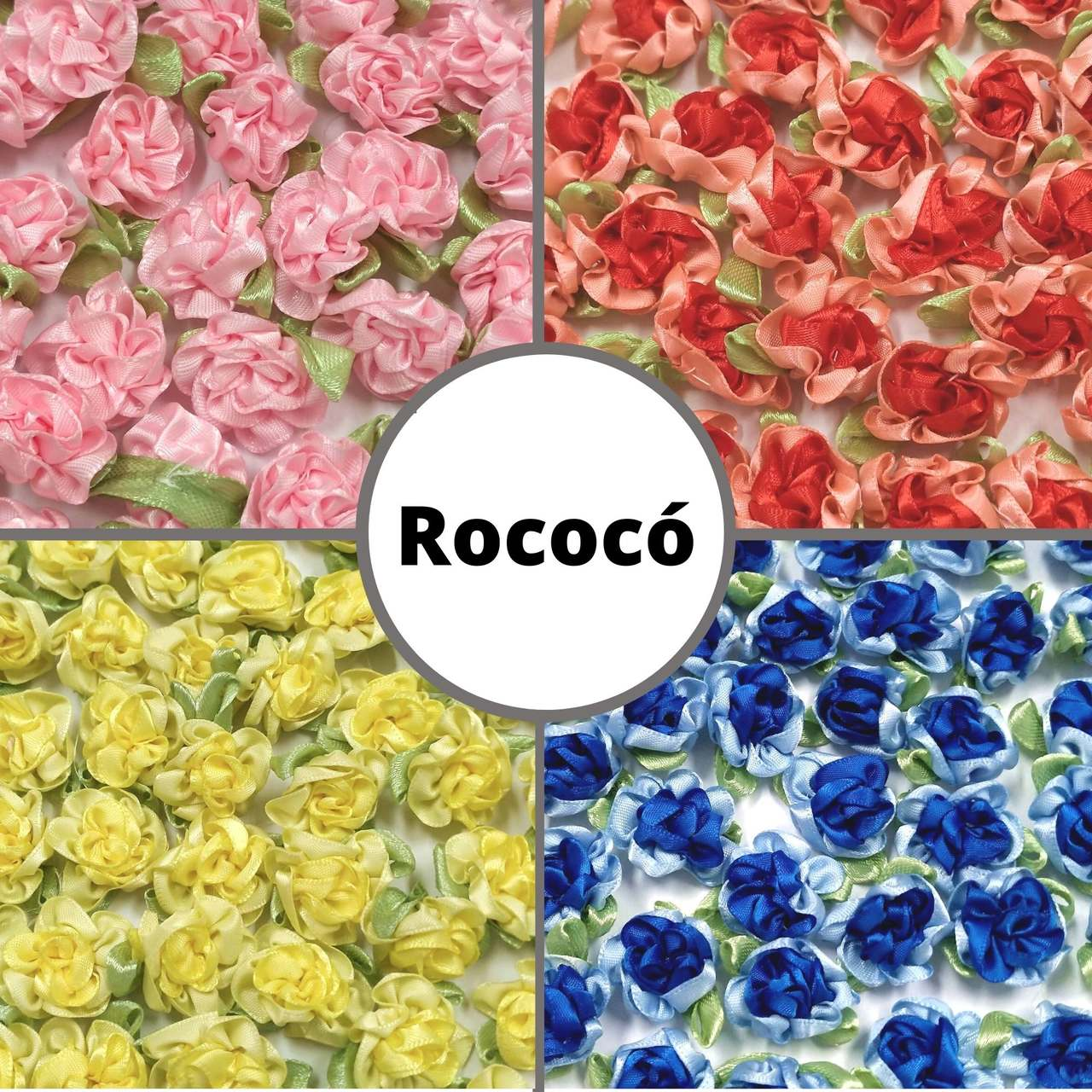 Rococó de 2,5cm c/ Folha - Pacote c/ 100 peças