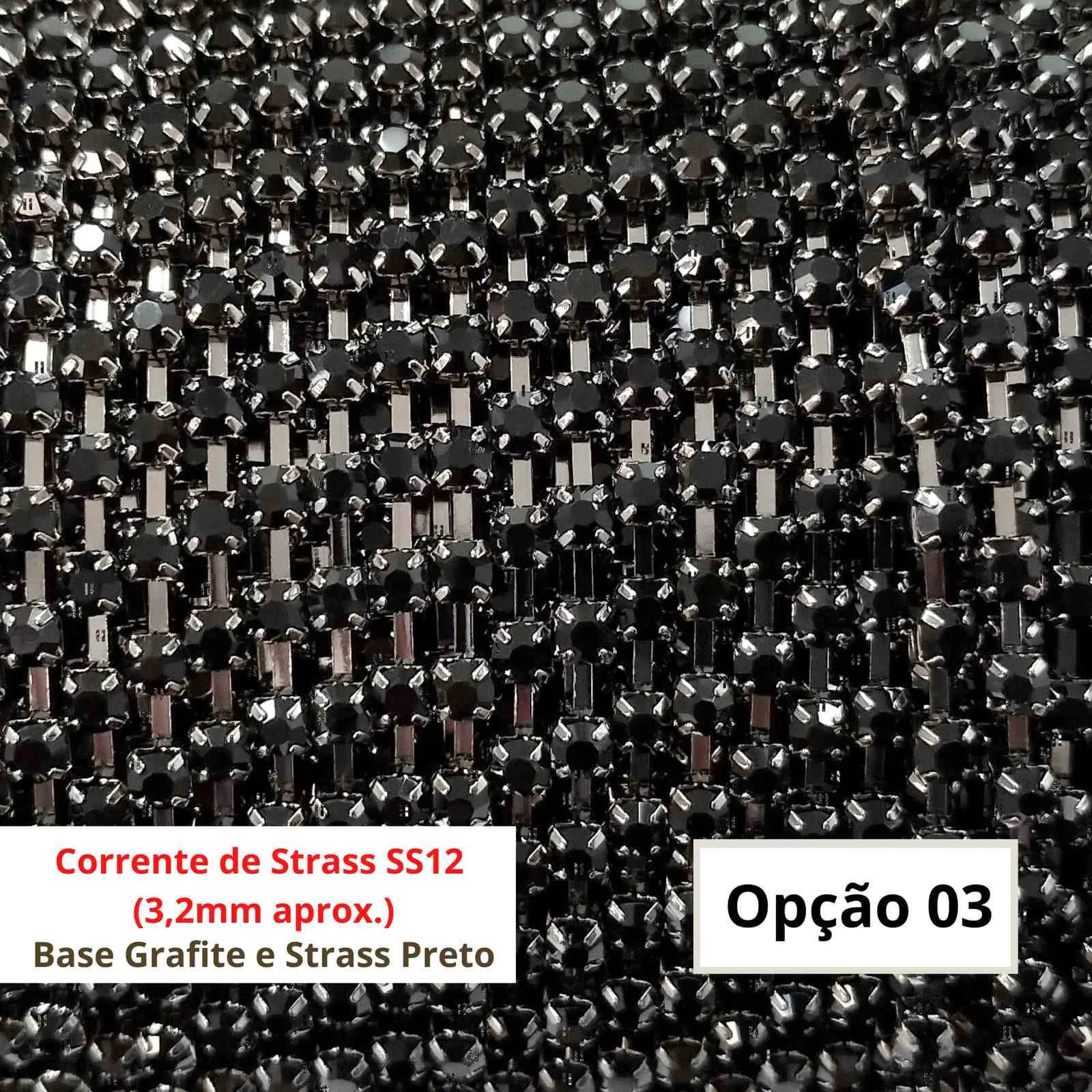 Strass de Corrente Original 2° Linha - SS12 (aprox. 3,2mm) - O metro
