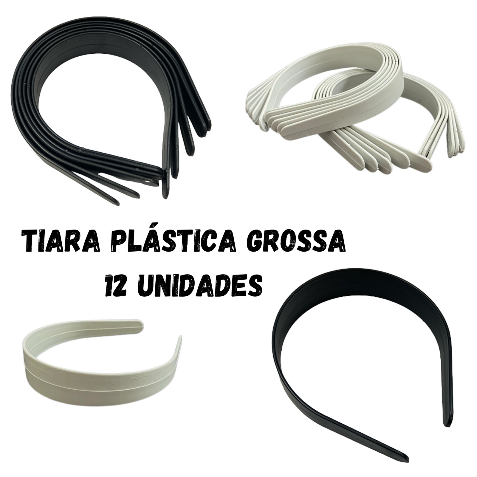 Tiara Plástica Grossa - 12 unidades