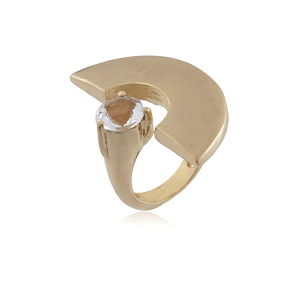 Anel Cristal Ouro Acetinado