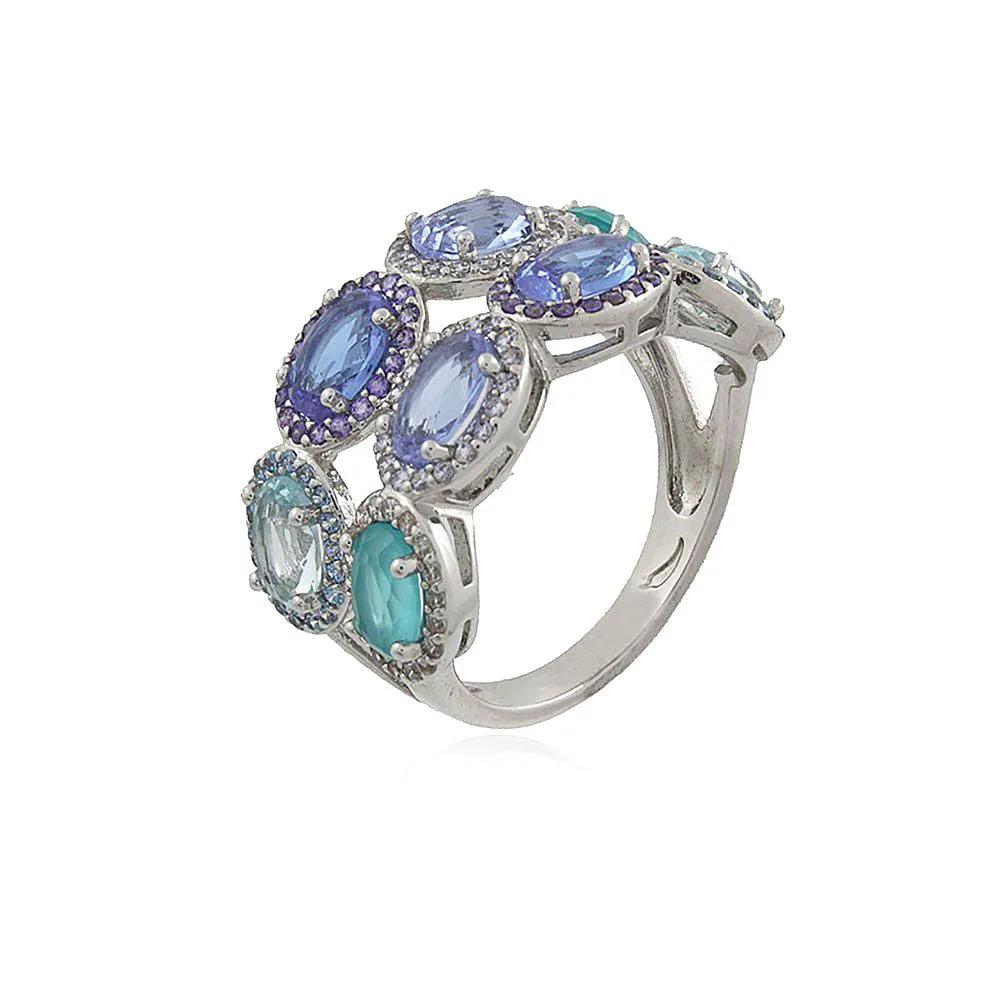Anel Cristal Oval Topázio Azul Paraíba Tanzanita